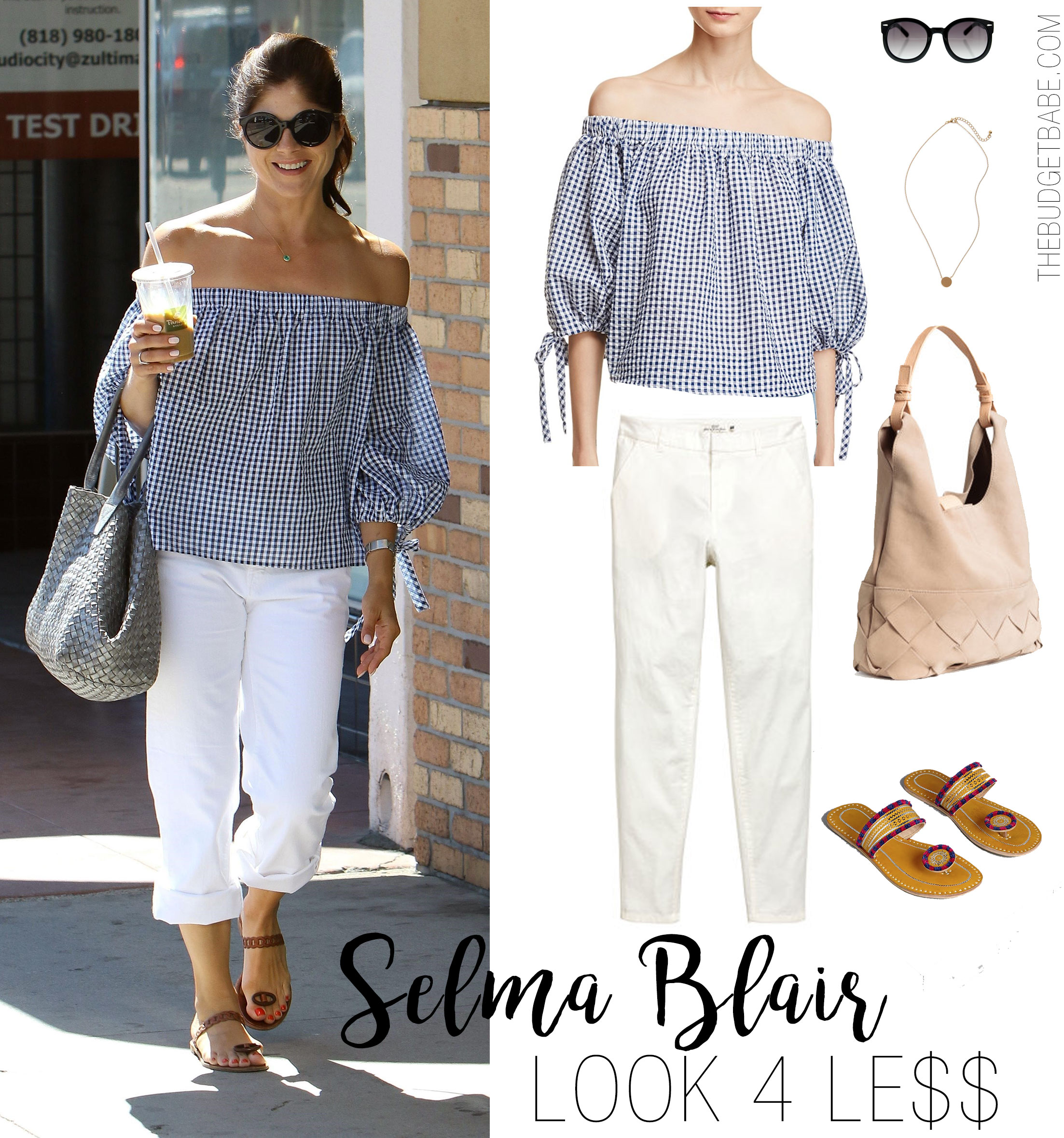 Selma Blair wears a gingham off-the-shoulder top and white pants for summer.