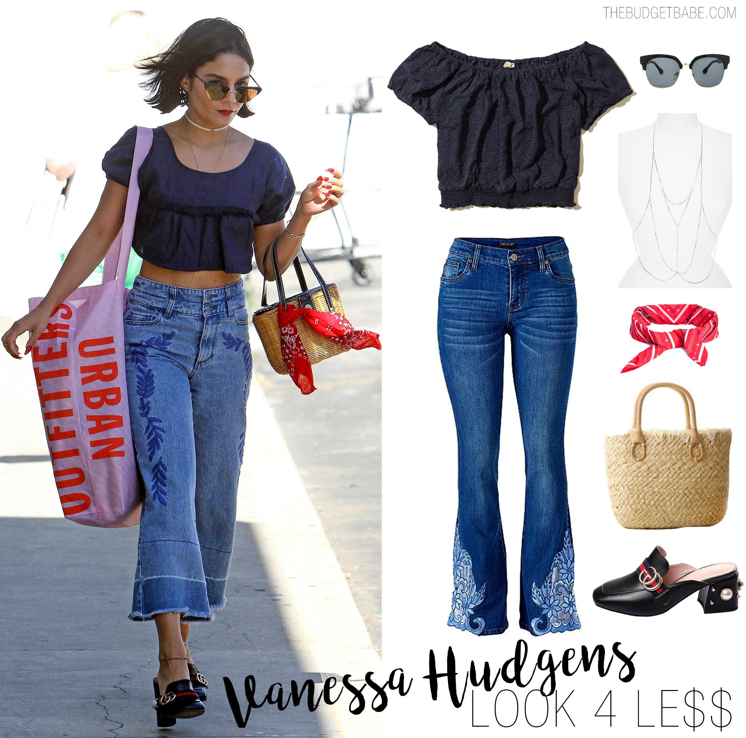Vanessa Hudgens' shops at Urban Outfitters in a crop top and embroidered flare leg crop jeans.
