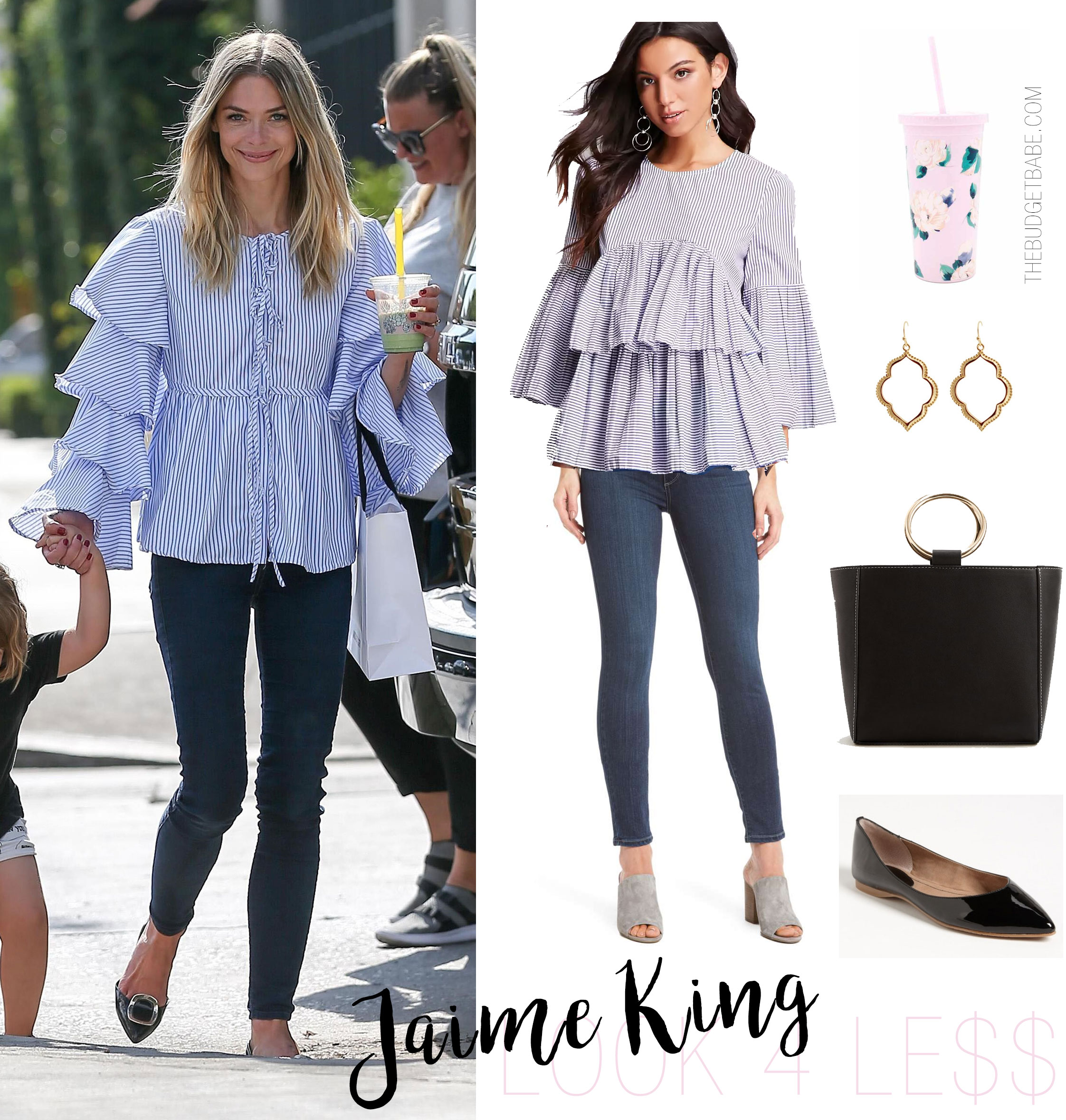 Jaime King wears a ruffle shirt and skinny jeans while shopping.