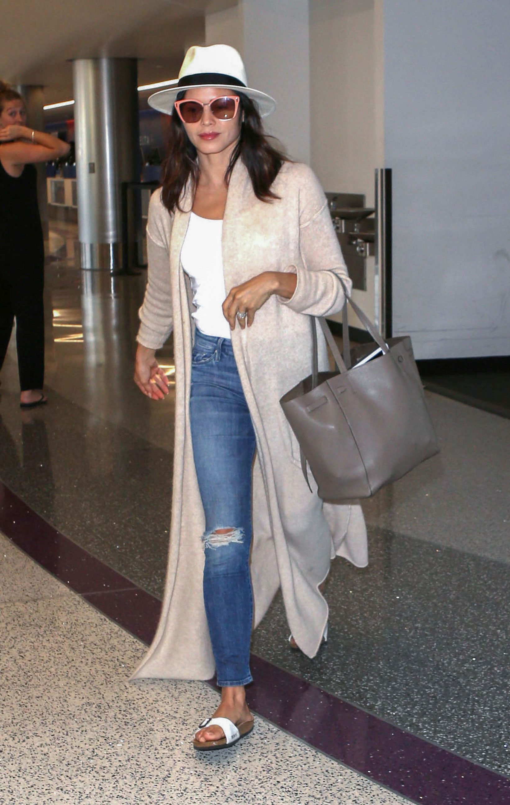 Jenna Dewan Tatum's duster and Birkenstocks look for less