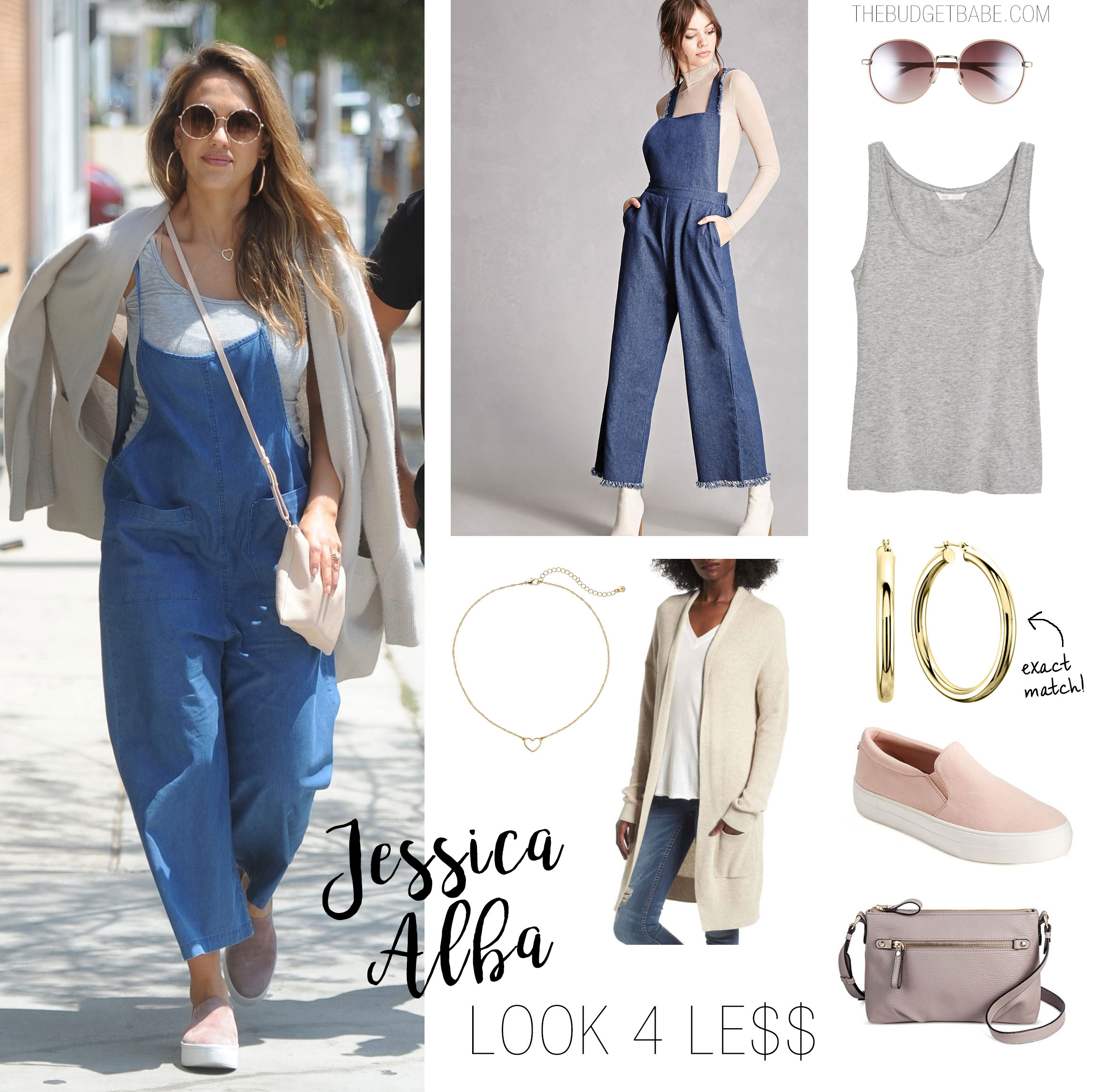 Jessica Alba looks cute in chambray overalls and blush slip on sneakers