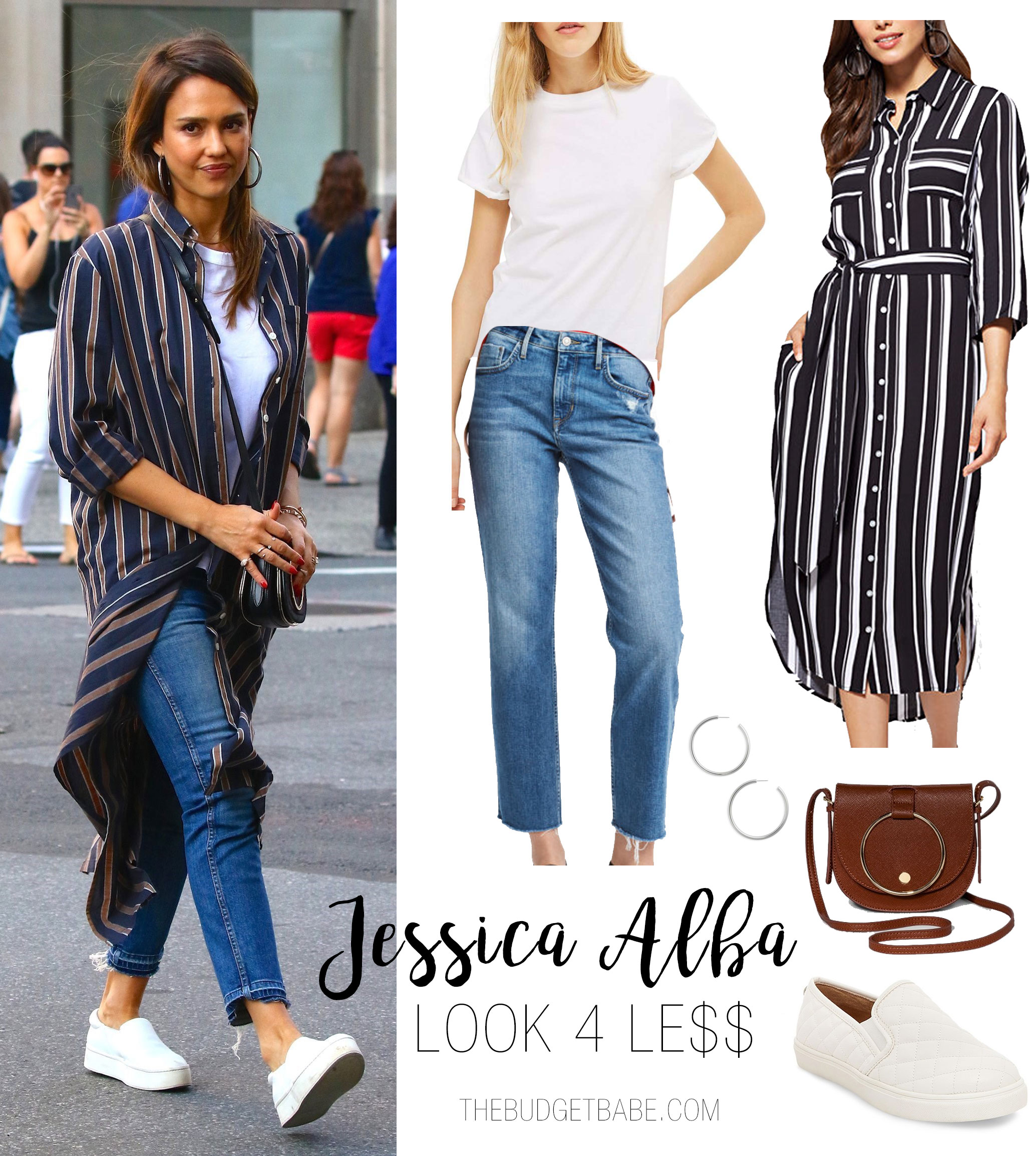 Jessica Alba looks cute and casual in a stripe duster, white tee, jeans and white sneakers.