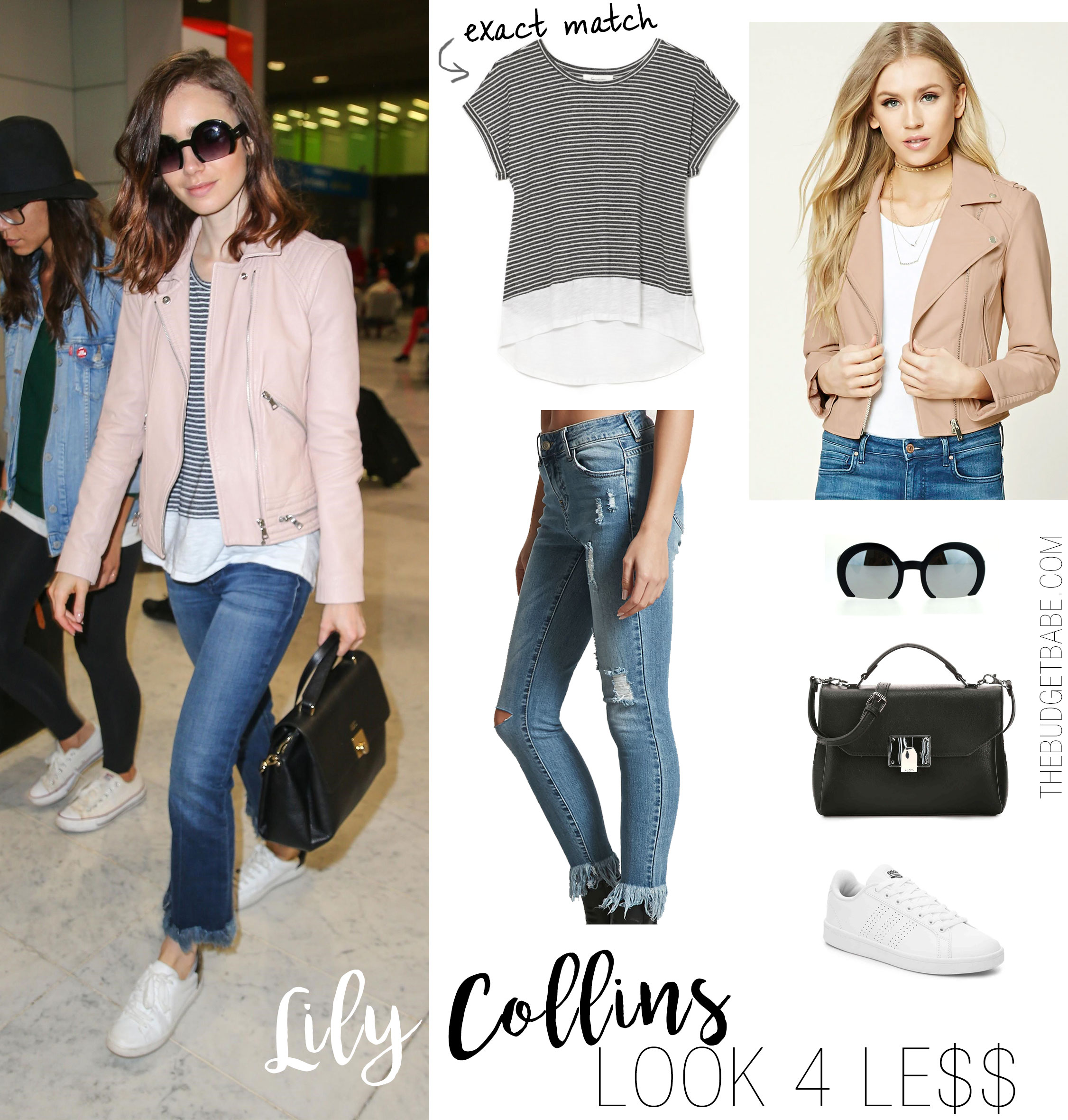a6c4402d0756 ... 9 to 5 Chic in Her Camel Blazer and Platform Heels Lily Collins wears a  pink moto jacket and stripes.