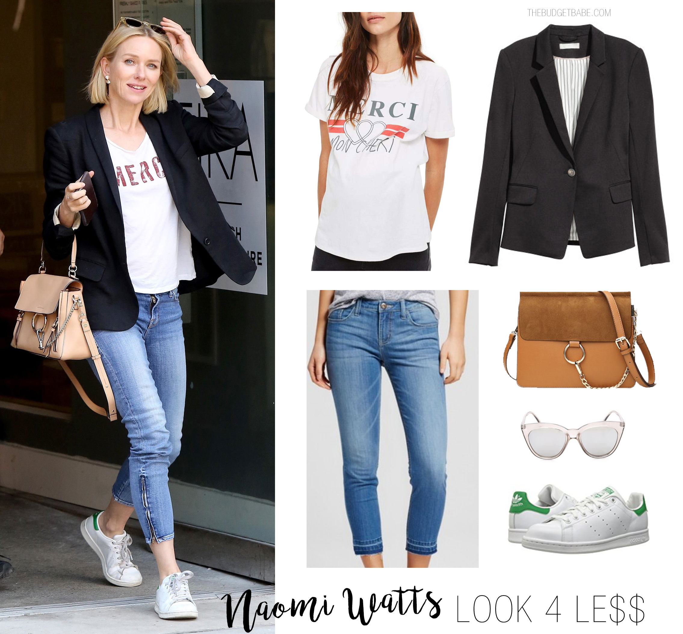 Naomi Watts looks cool and casual in a blazer, slogan t-shirt and Adidas sneakers