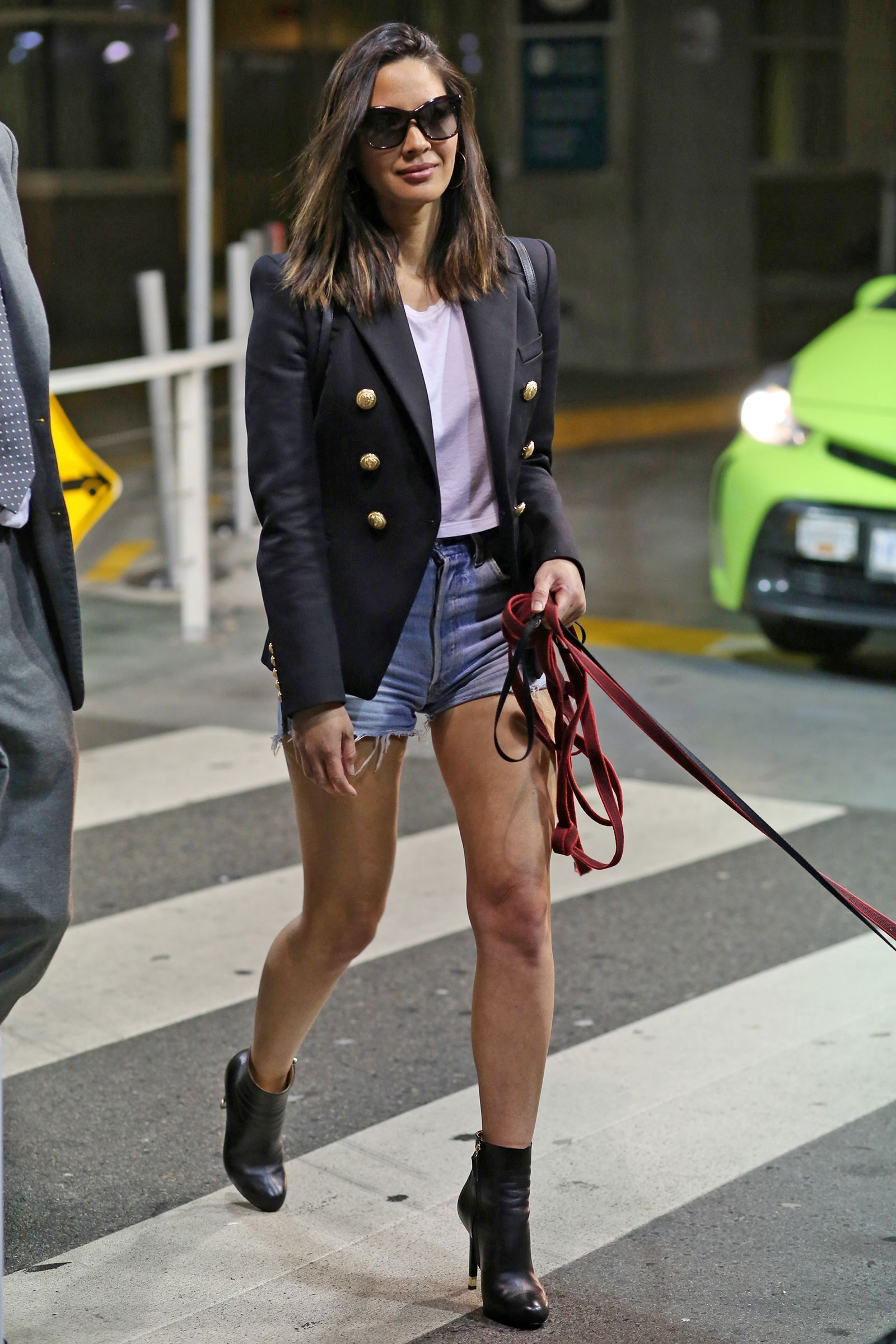 Olivia Munn's blazer and shorts look for less