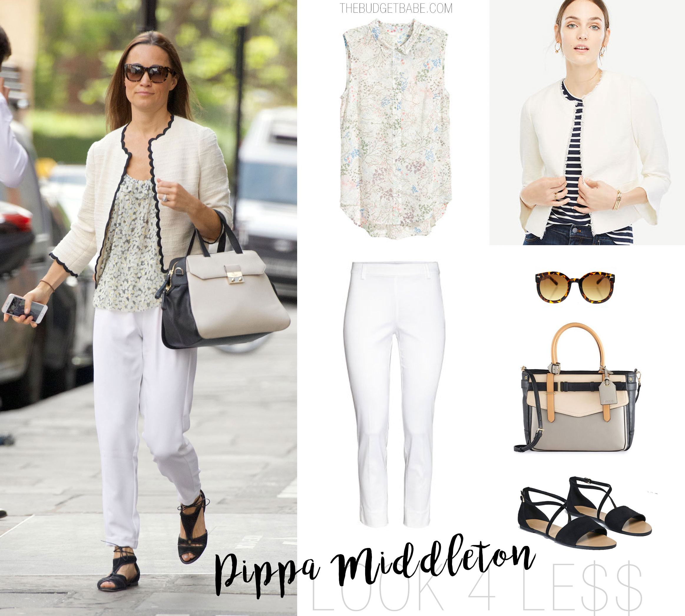 Pippa Middleton's summer style features a white tweed blazer with black scallop trim and white pants.