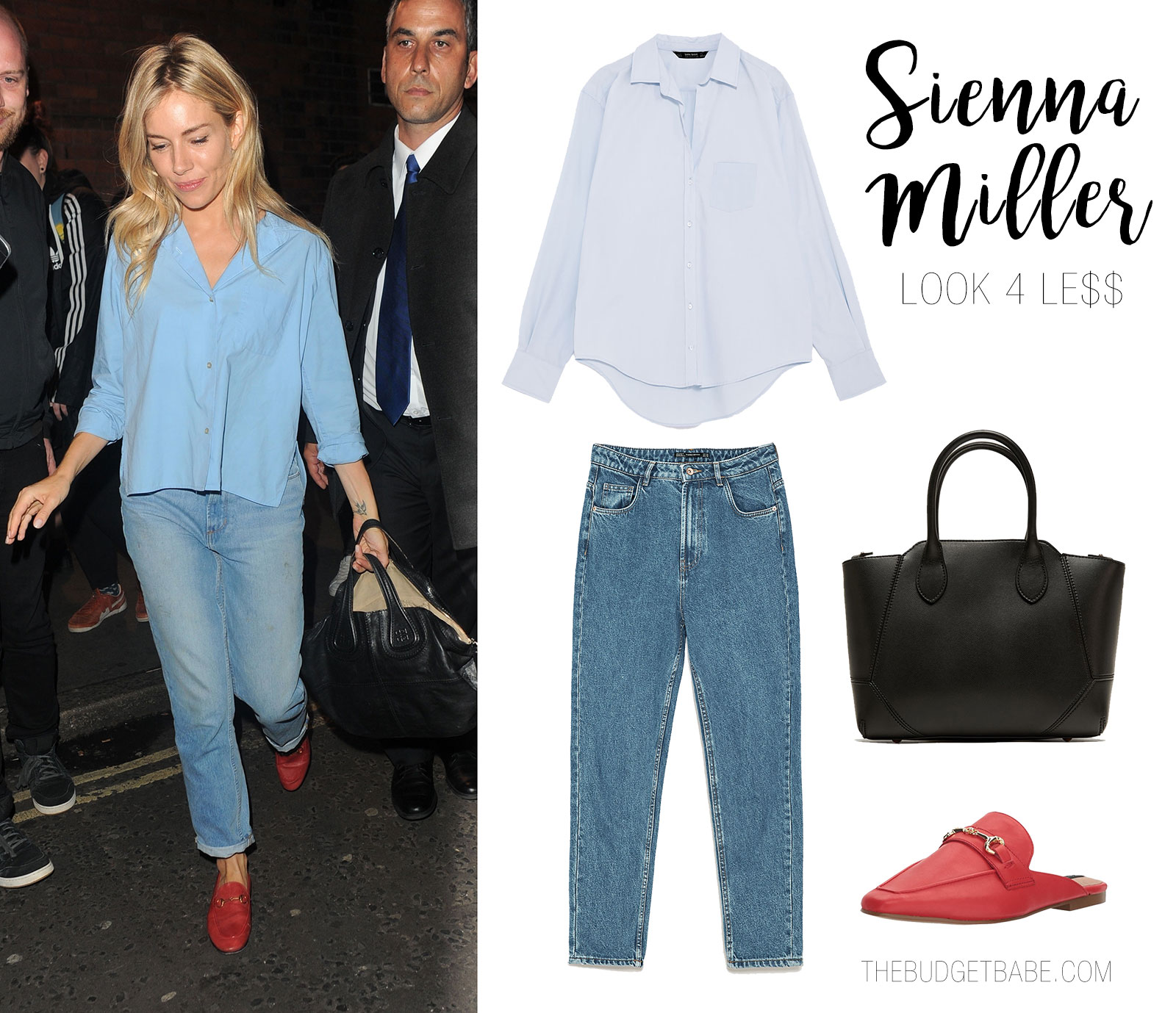 Sienna Miller's minimal mom jeans and red loafers look for less