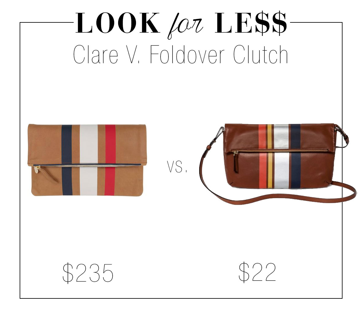 Clare V. striped clutch look for less