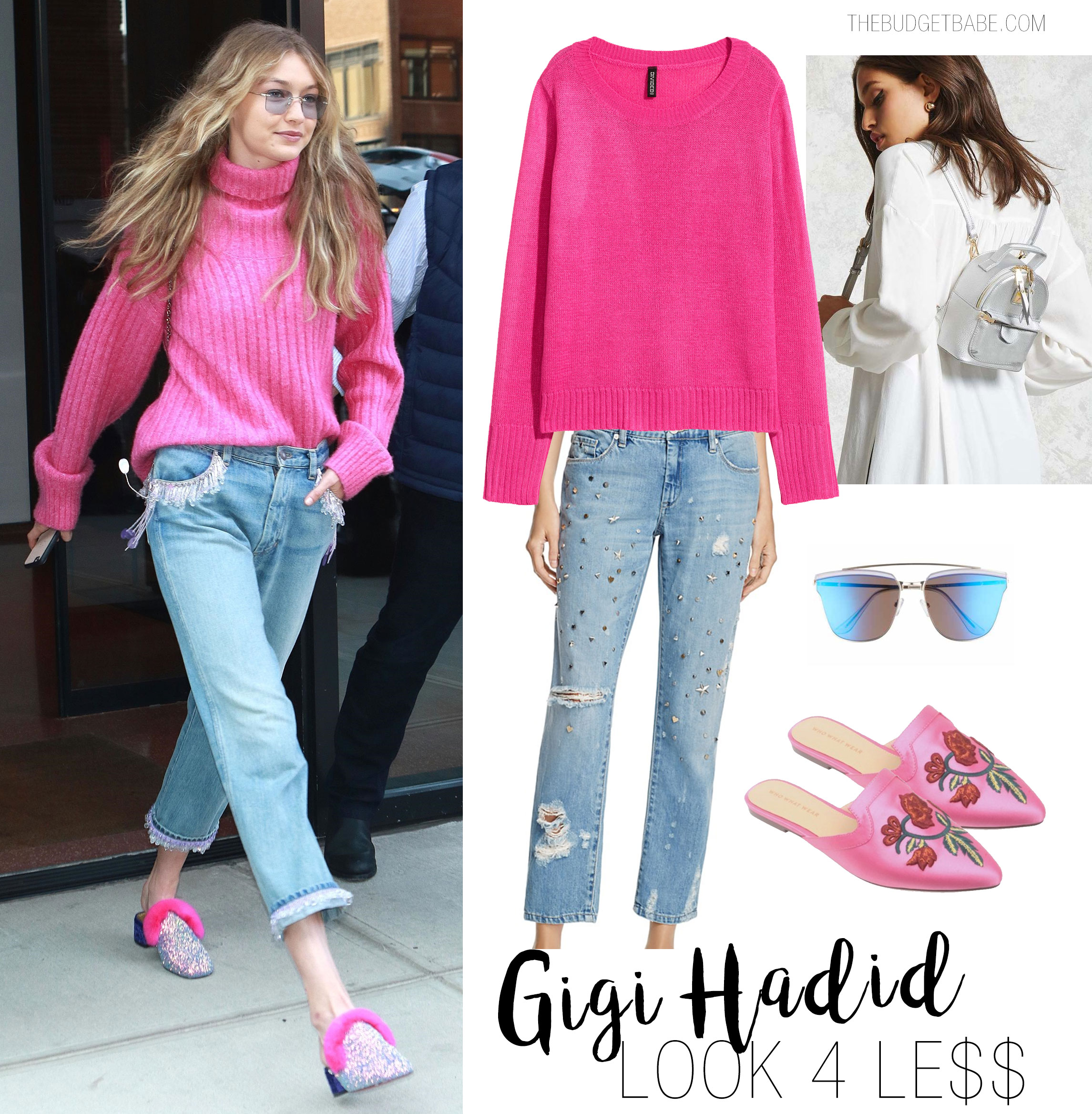 Gigi Hadid wears a hot pink turtleneck sweater with embellished jeans and Christian Louboutin glitter and fur mules.