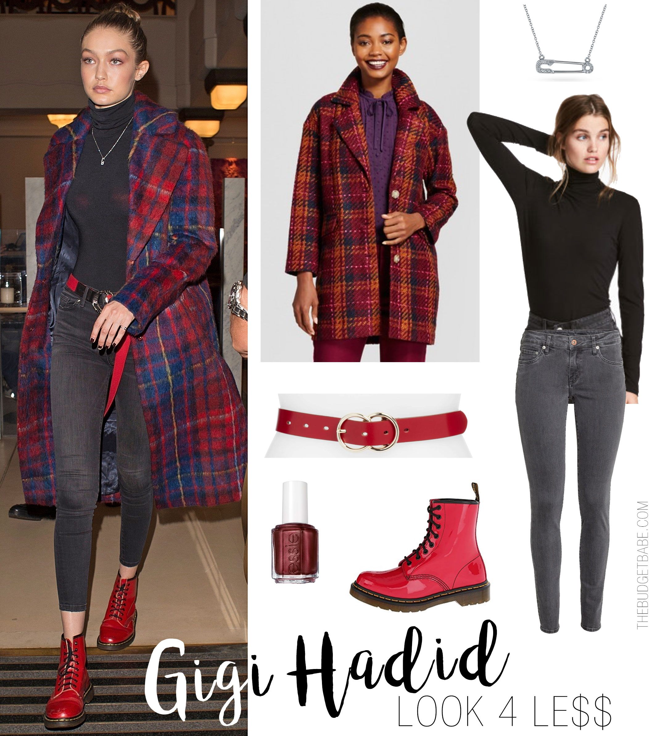Gigi Hadid steps out in a plaid coat, black turtleneck and red combat boots.