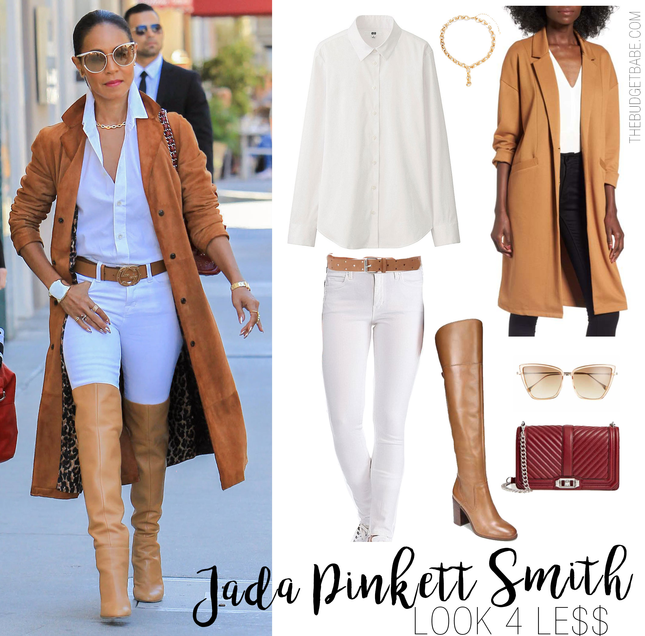 3cb62236e3403 Jada Pinkett Smith wears a camel suede trench coat with a white button-down  shirt
