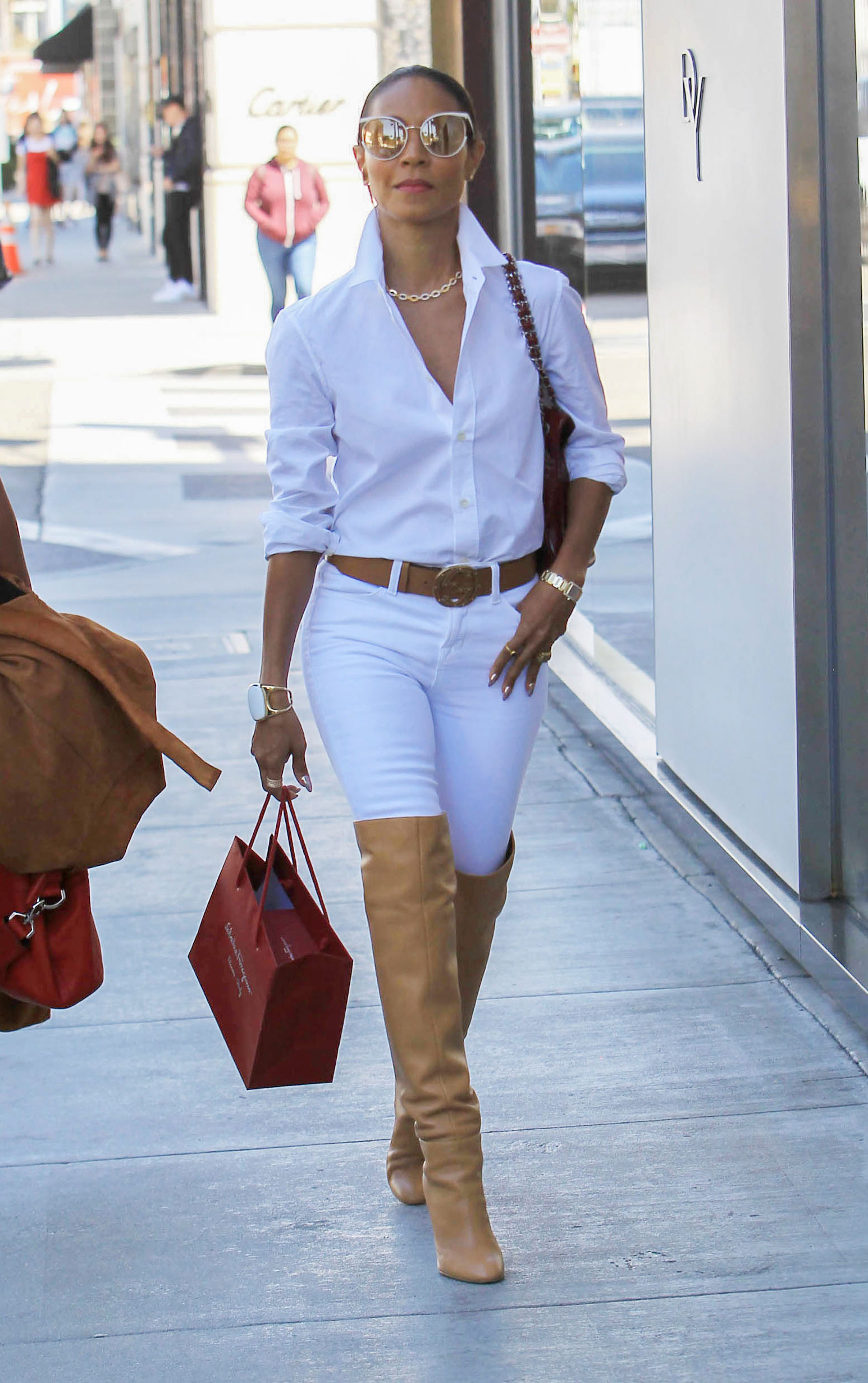 Jada Pinkett Smith S Camel Trench And Over The Knee Boots