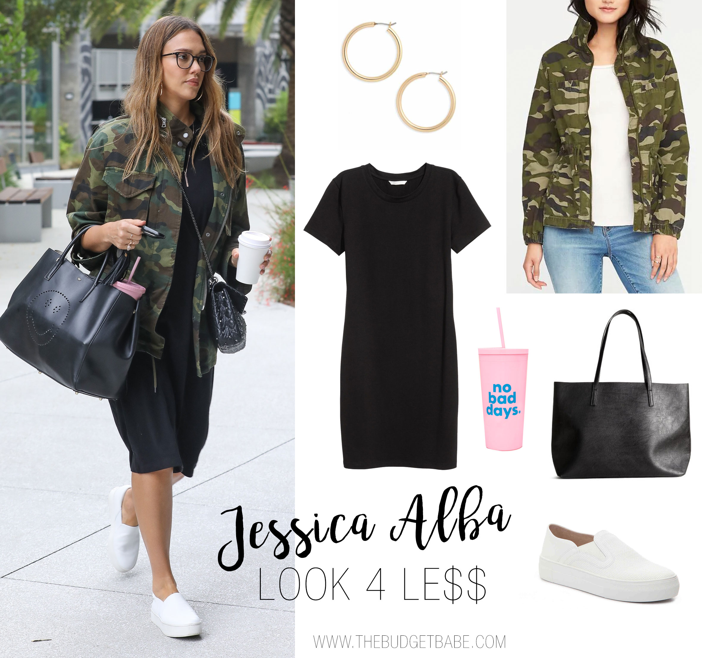 Jessica Alba wears her Alice and Olivia camo jacket with a black dress, Vince sneakers and Anya Hindmarch Smiley Tote Bag.