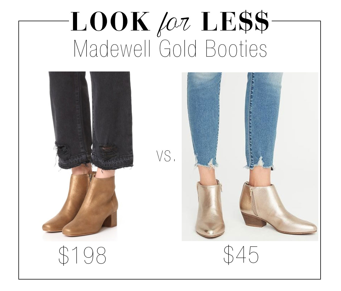 Madewell 'Lucien' gold ankle boots look for less