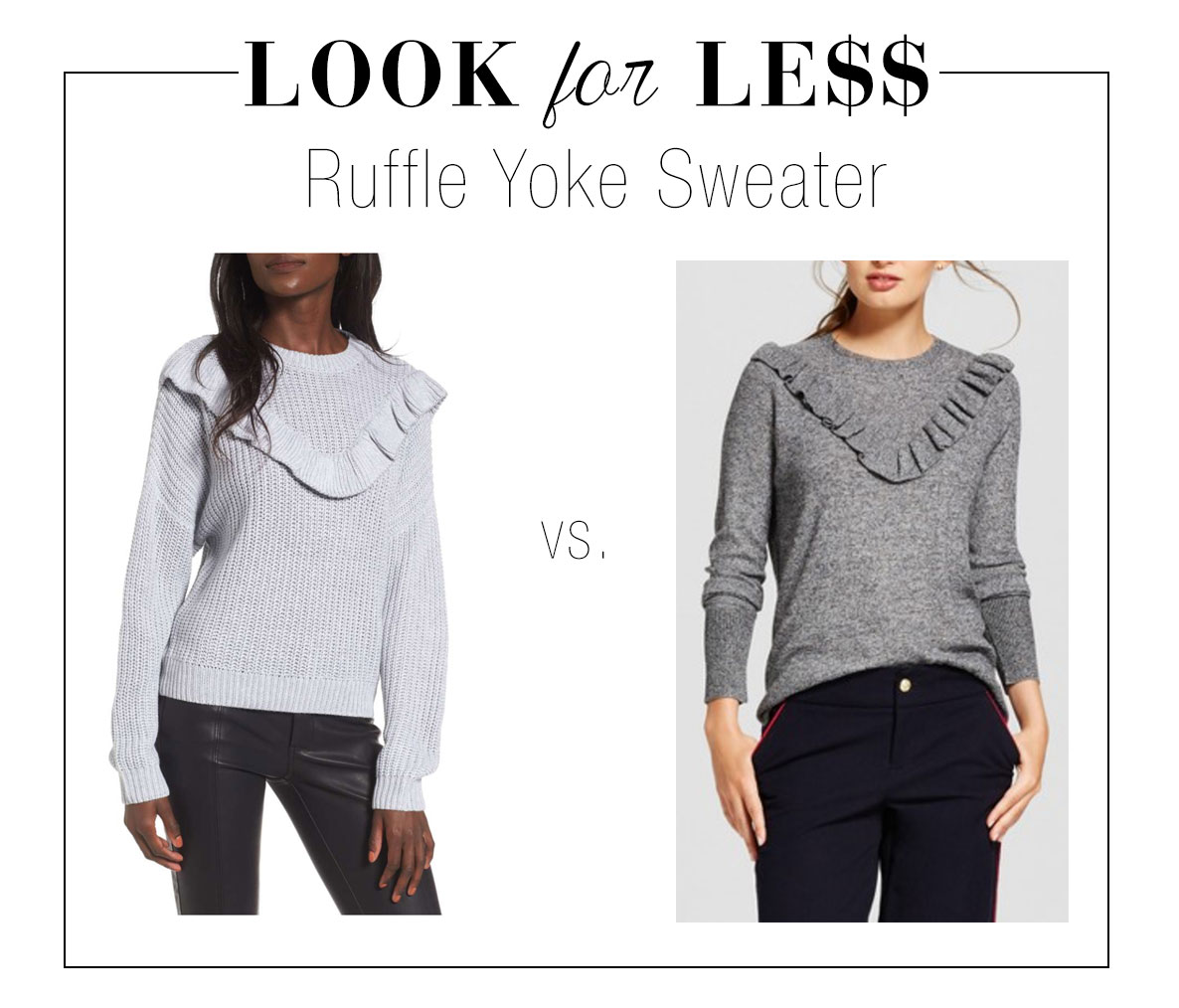 Ruffle yoke sweater look for less