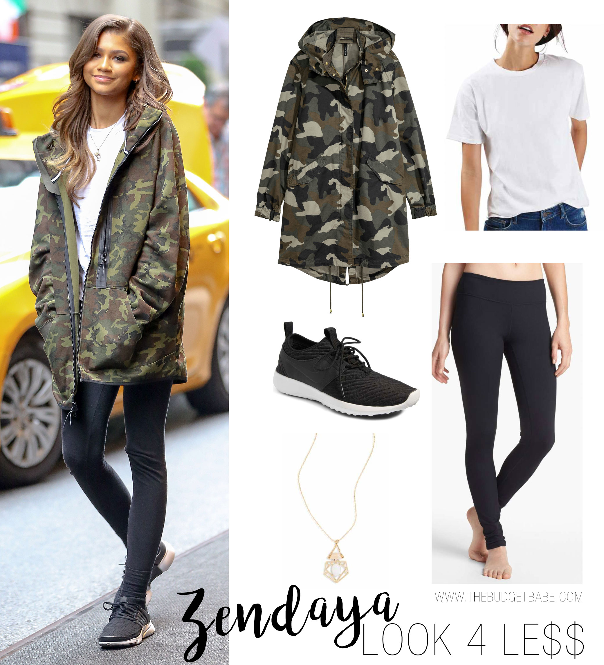 Zendaya styles her camo jacket with leggings, sneakers and soft curls.