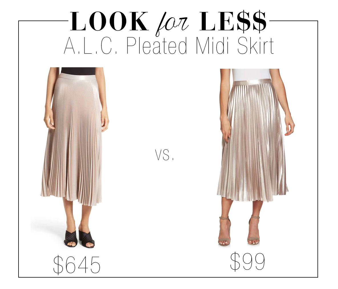 A pleated maxi skirt is perfect for the holiday season.