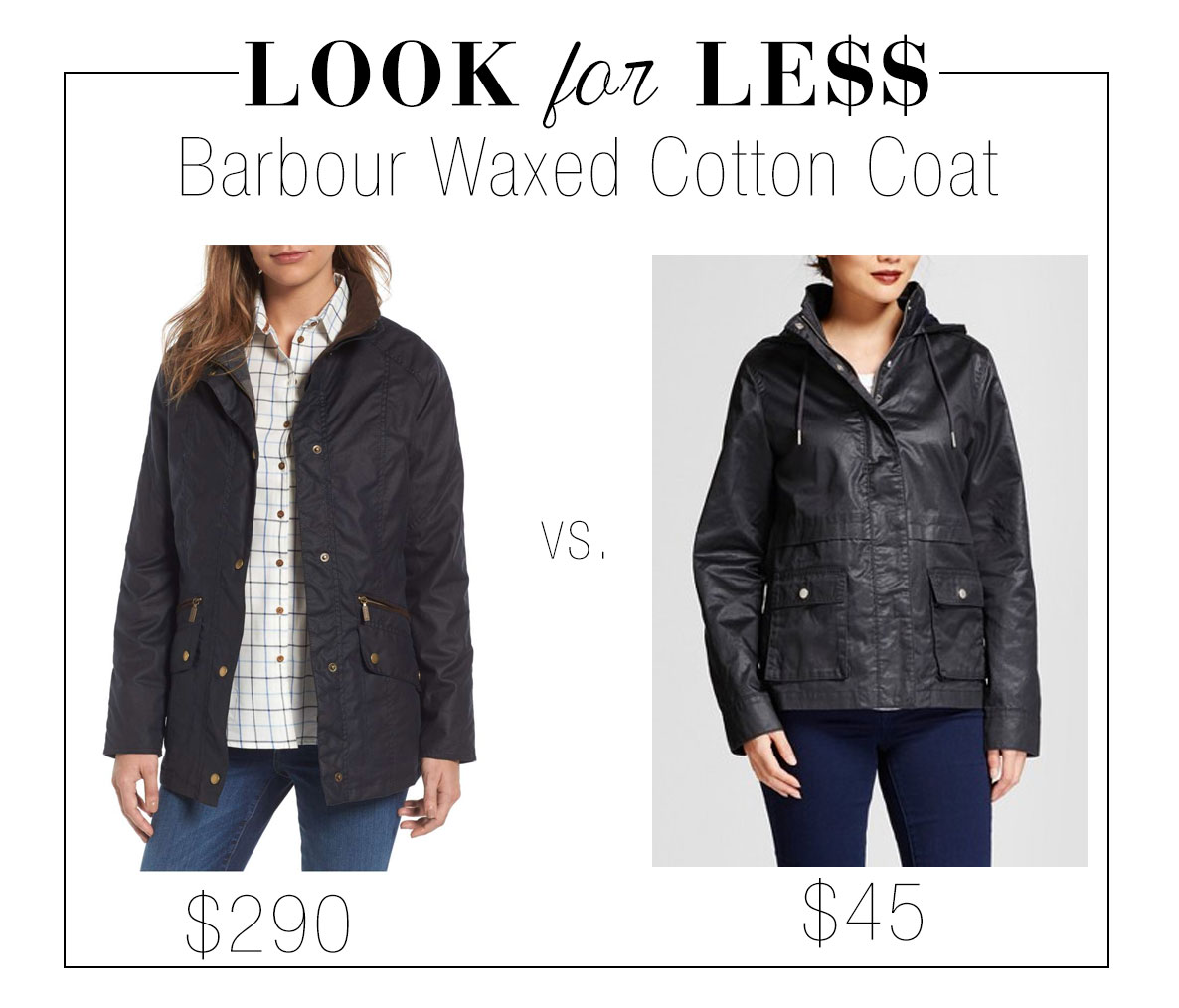 Get the look of Barbour's waxed cotton coat for less.