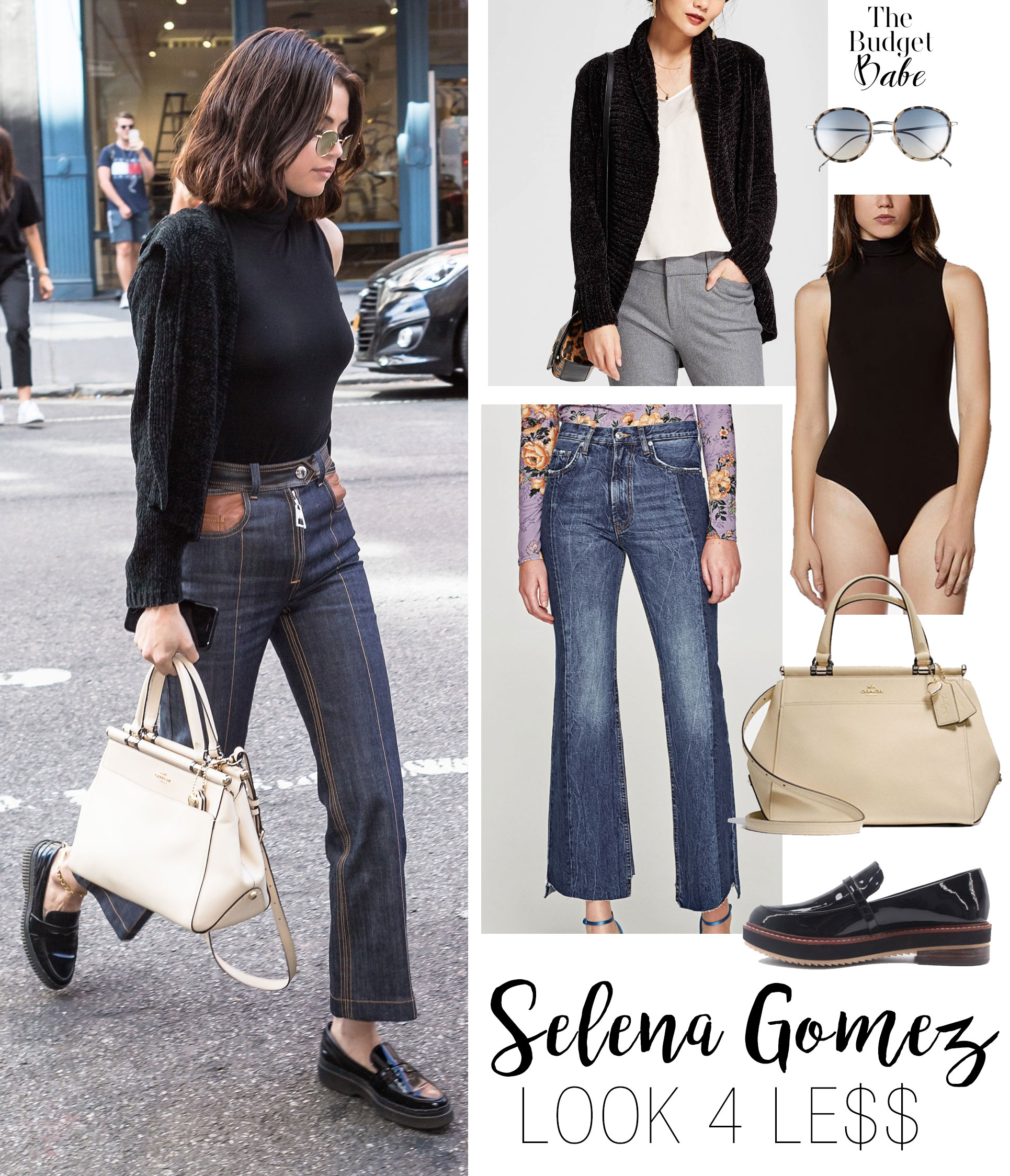 Selena Gomez celebrity look for less black turtleneck chenille sweater loafers