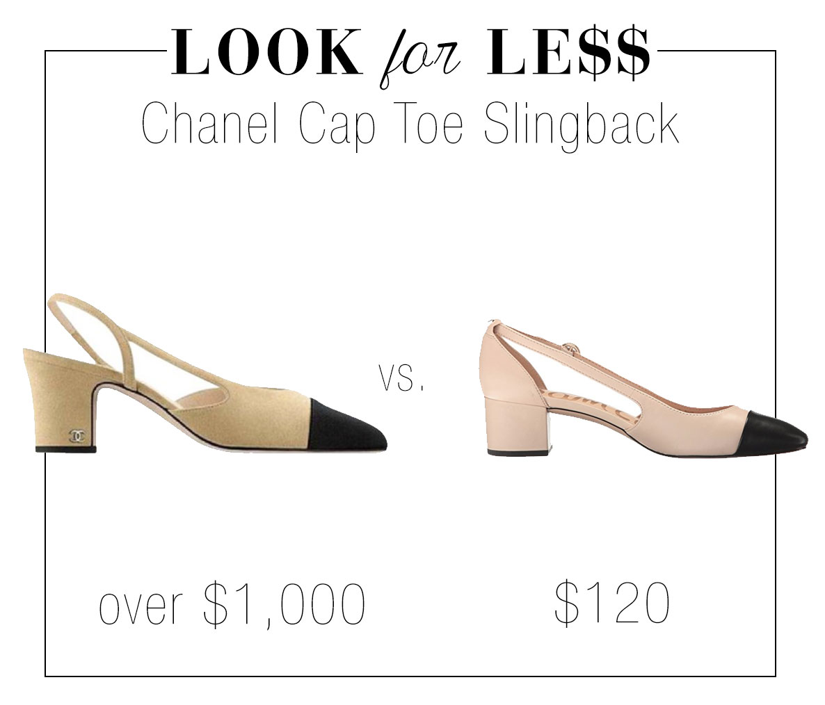 Chanel cap toe slingback knockoffs