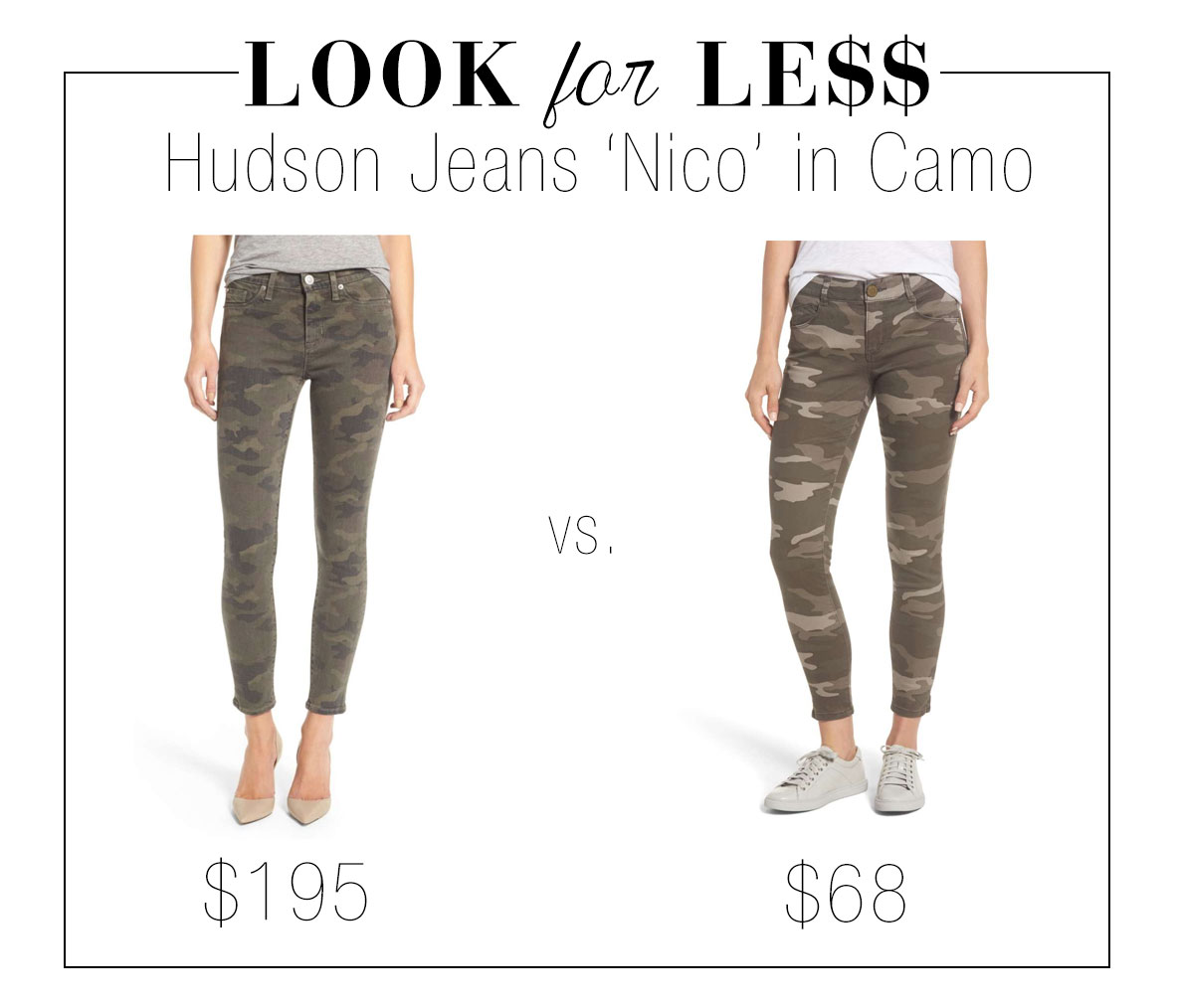 Get the look of Hudson Jeans 'Nico' camo skinny jeans for less.