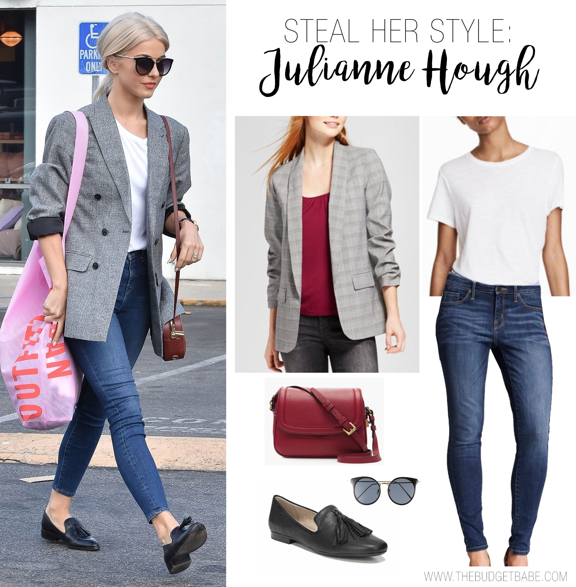 Julianne Hough's gray blazer, skinny jeans, loafers and red bag look for less