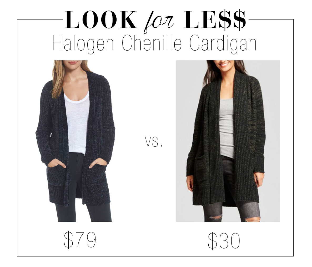 Try a chenille cardigan for a cozy yet pulled together fall look.