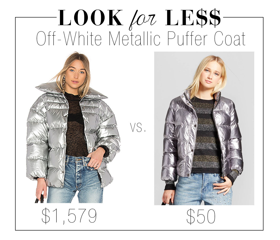 Get the look of Off-White's silver metallic puffer coat for less.
