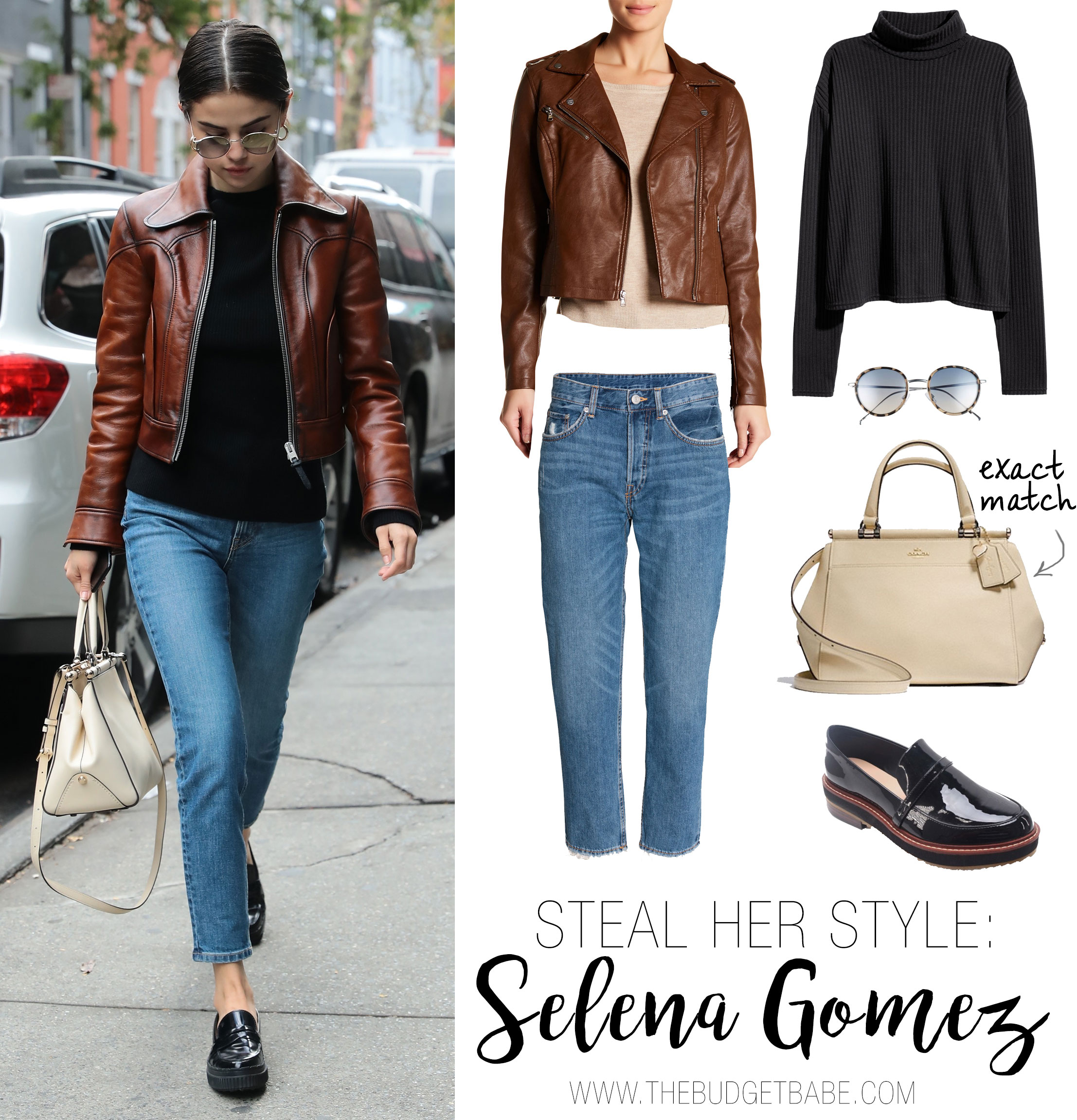 Selena Gomez wears a brown leather moto jacket, black sweater and black loafer flats.