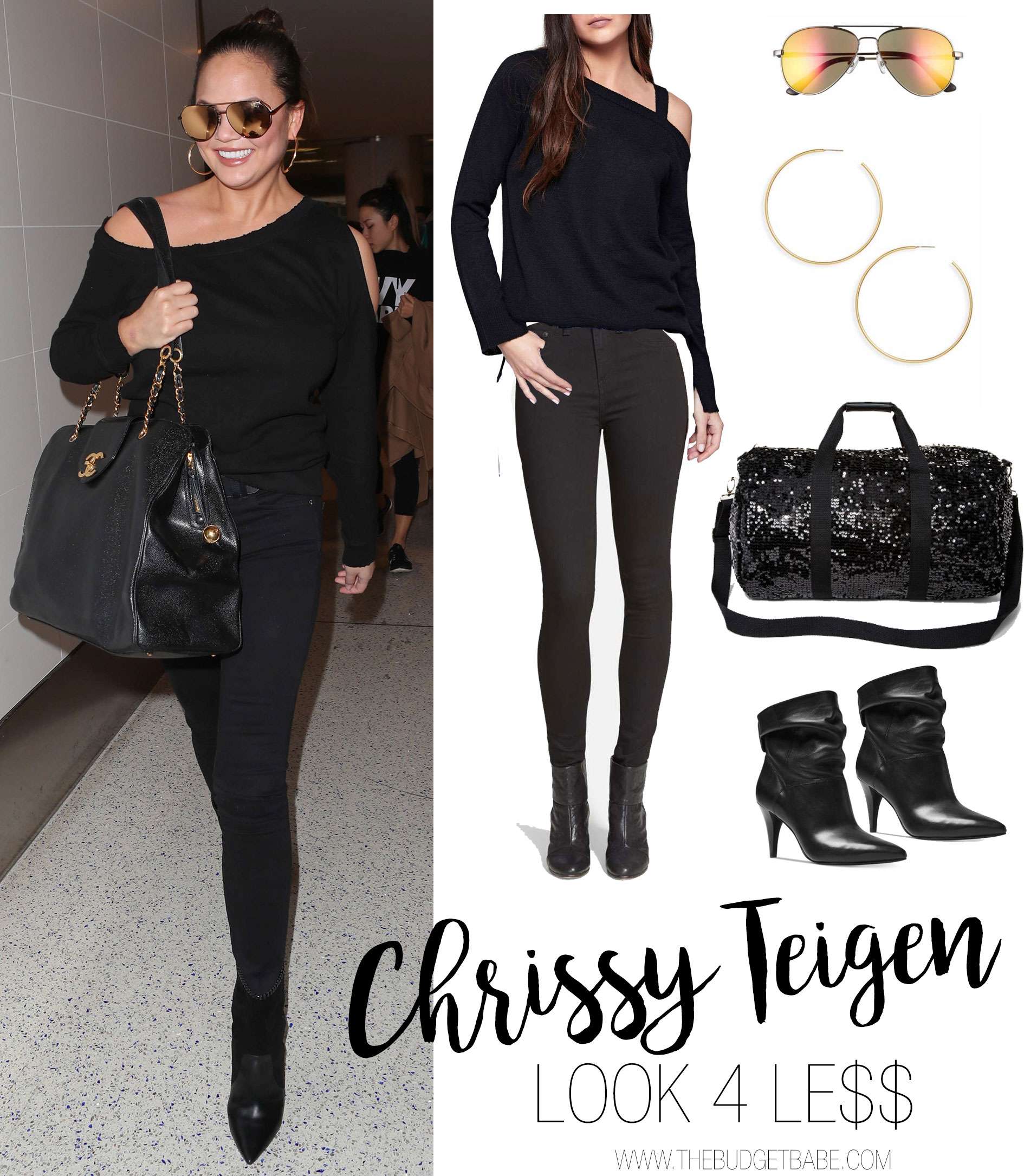 Chrissy Teigen wears a cold shoulder top and Chanel bag while traveling.