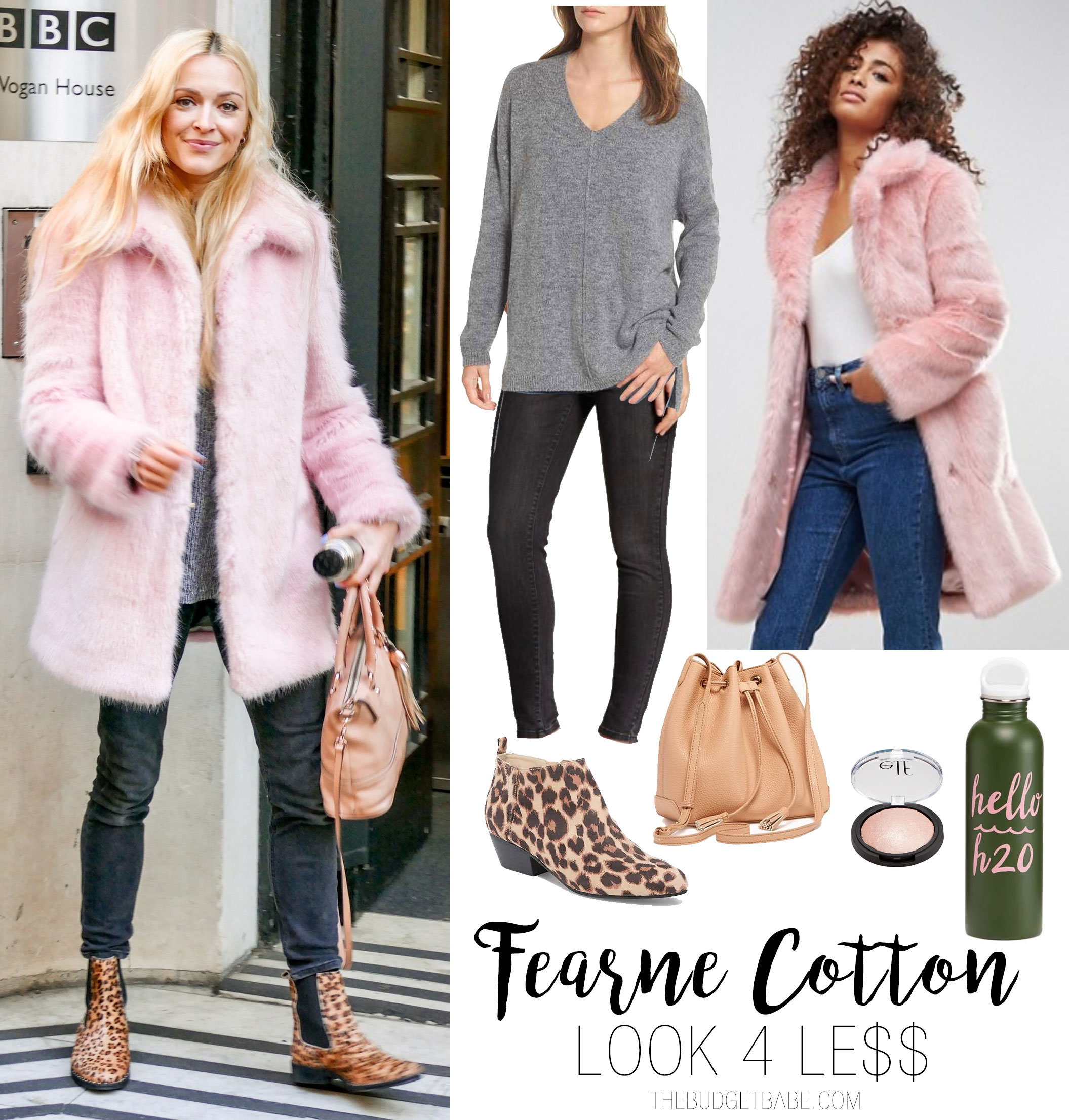Fearne Cotton's pink faux fur coat and leopard booties celebrity look for less