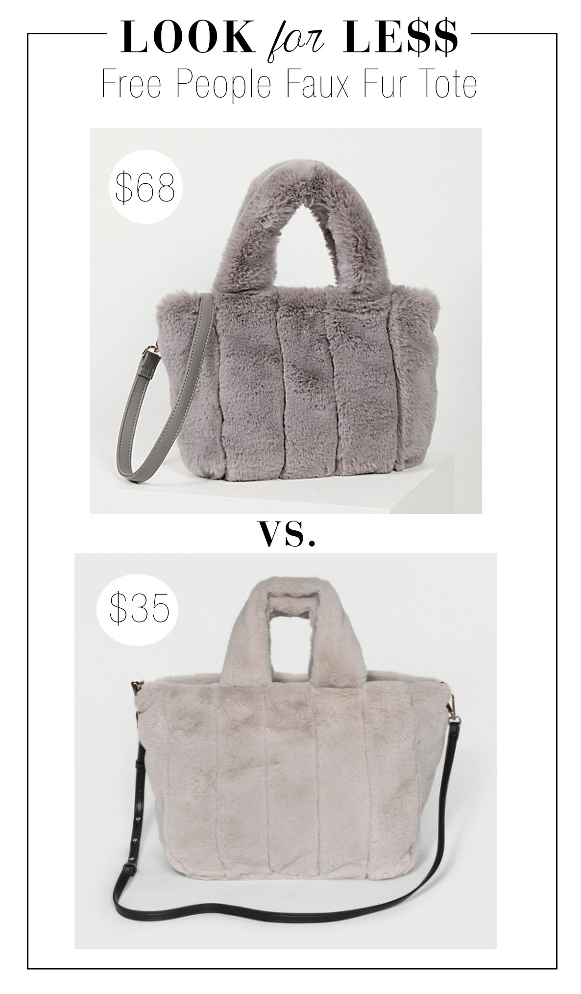 Free People faux fur bag and the look for less