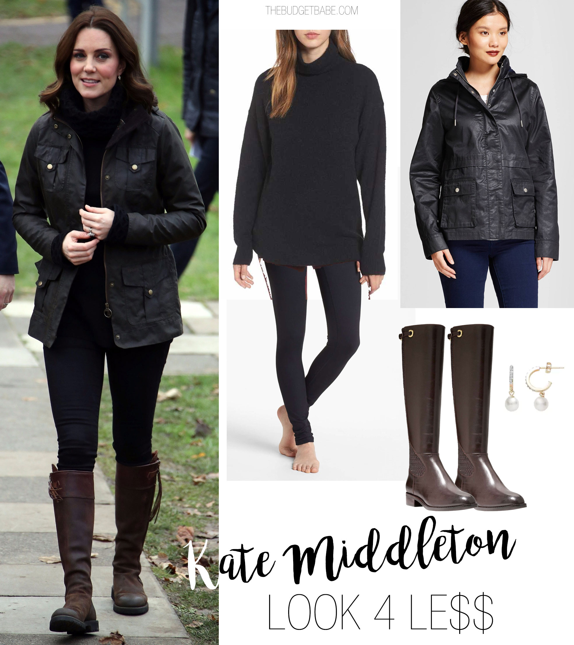 Kate Middleton's field jacket and riding boots look for less