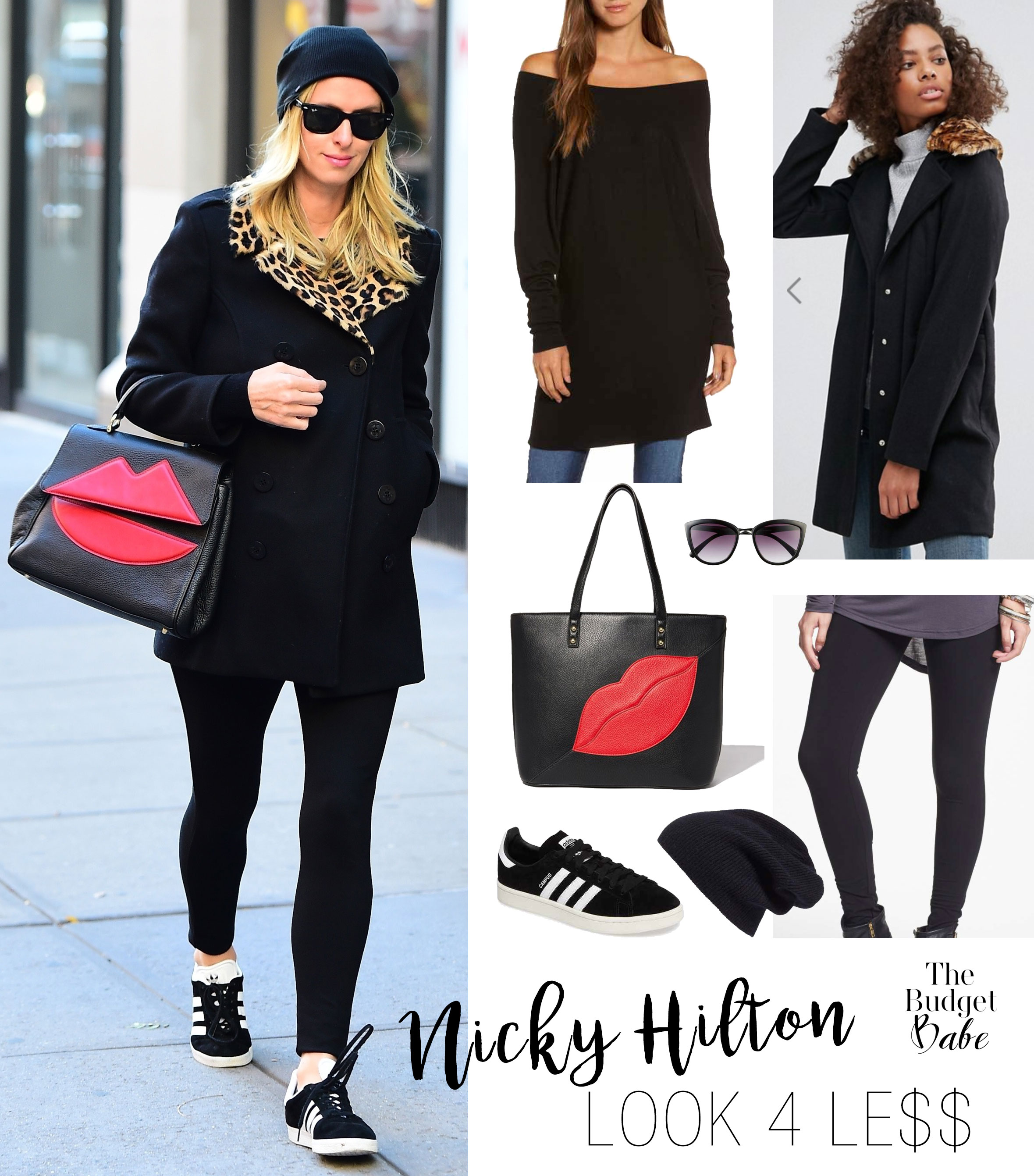 Nicky Hilton wears a black wool coat with leopard faux fur collar and red 'lips' bag by Sara Battaglia.