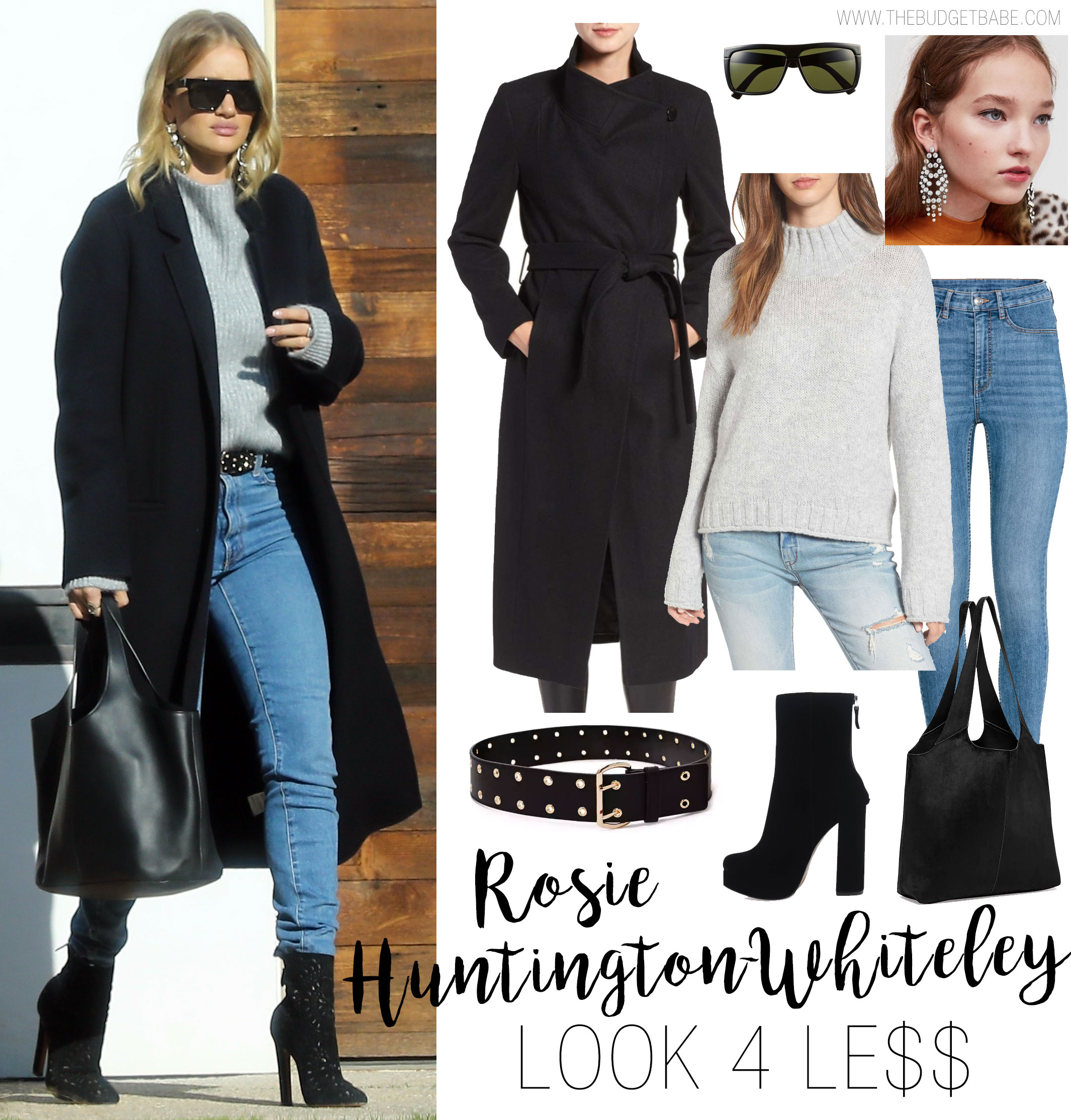 Rosie Huntington-Whiteley's black wool coat, grey sweater, skinny jeans and ankle boots celebrity look for less outfit idea