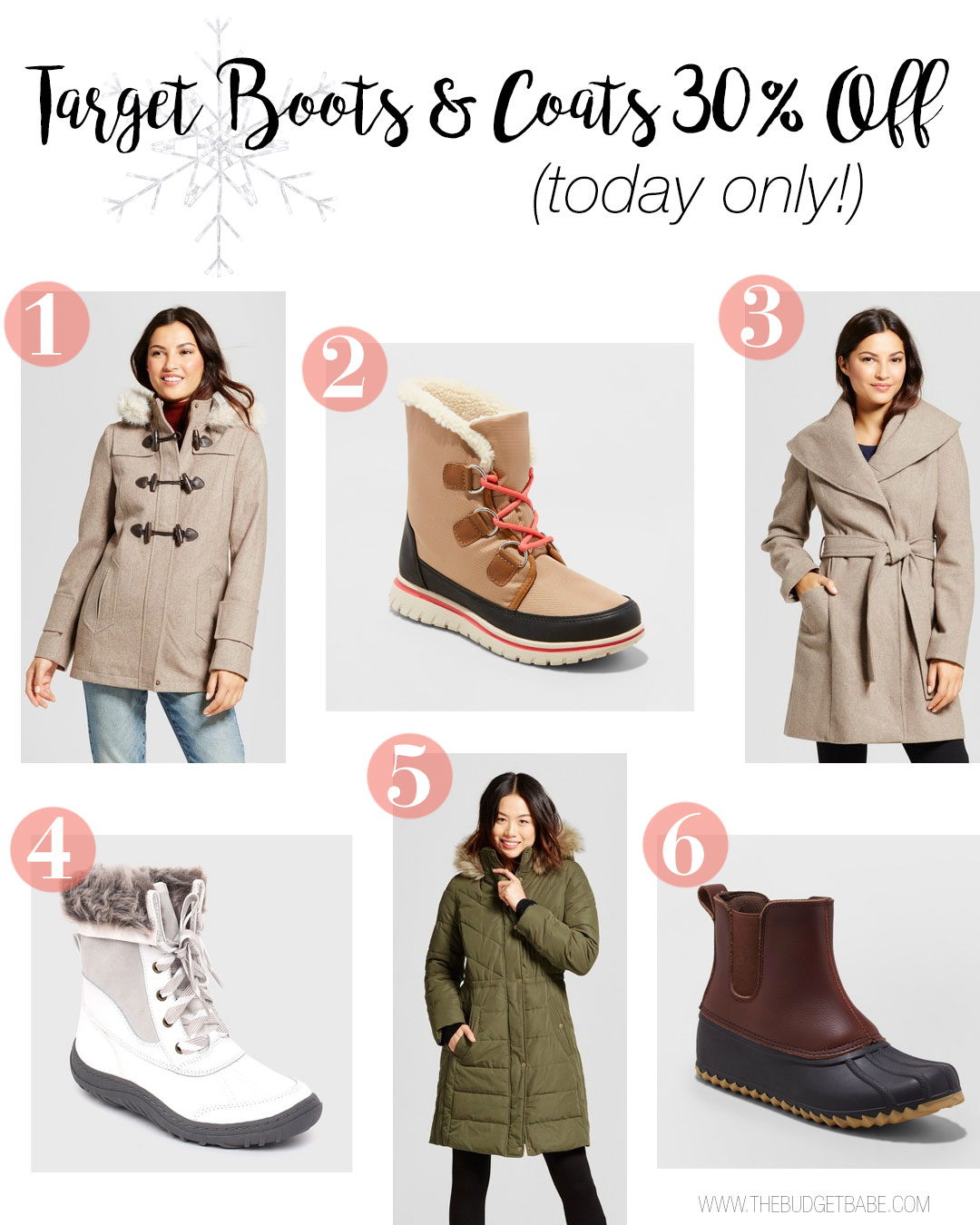 Target Boots and Coats are 30% off today only - for the whole family!