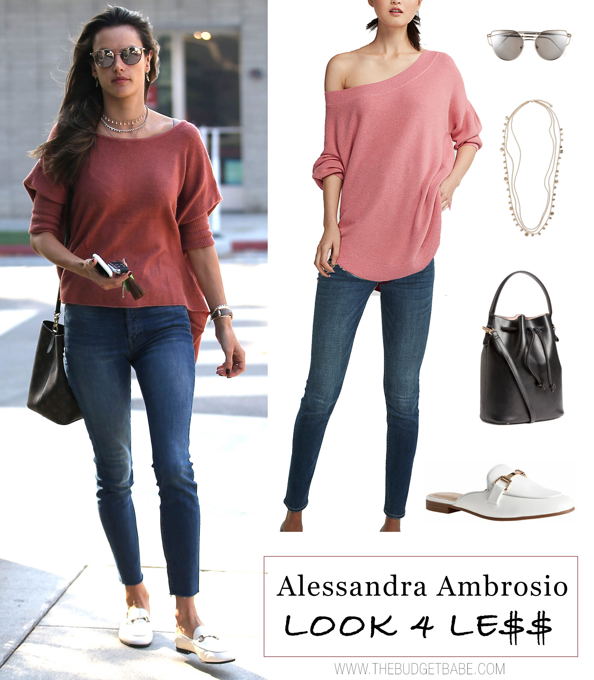 Alessandra Ambrosio wears a coral dolman sweater with skinny jeans and white mules.
