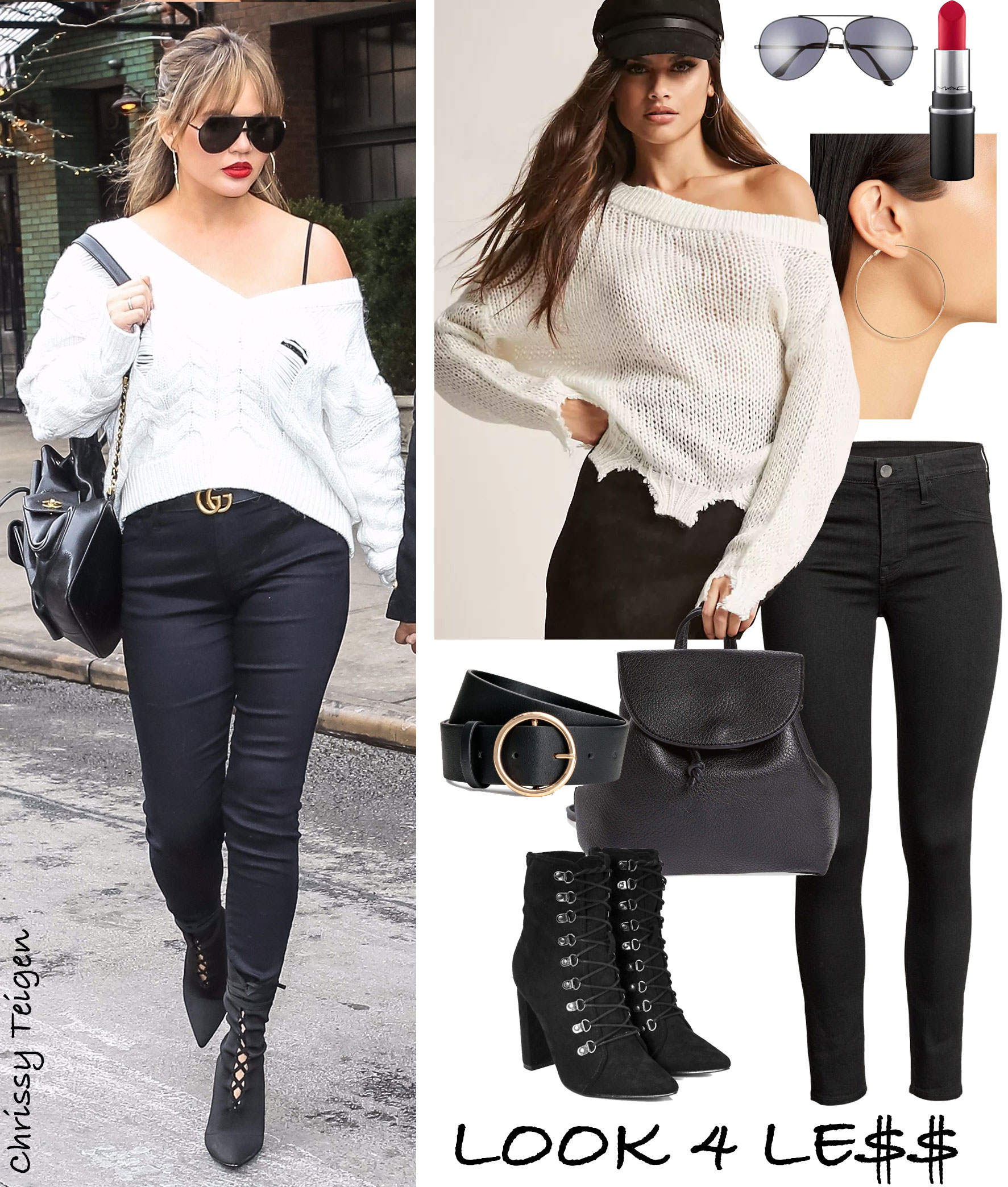 Chrissy Teigen wears a distressed white v-neck sweater with black skinny jeans and black lace-up ankle boots.