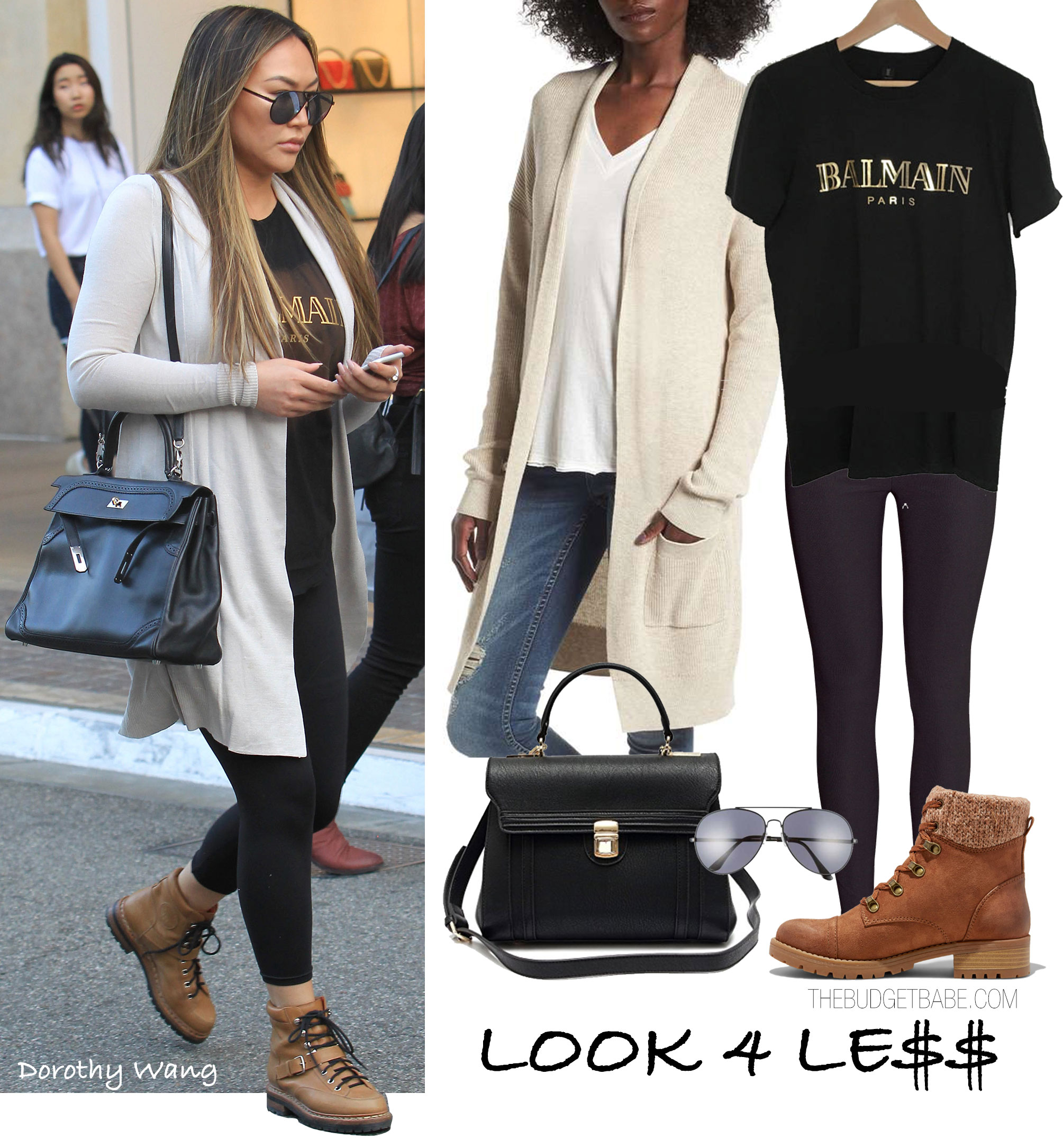 Dorothy Wang wears a gold foil Balmain tee with leggings, hiking boots and a beige cardigan.