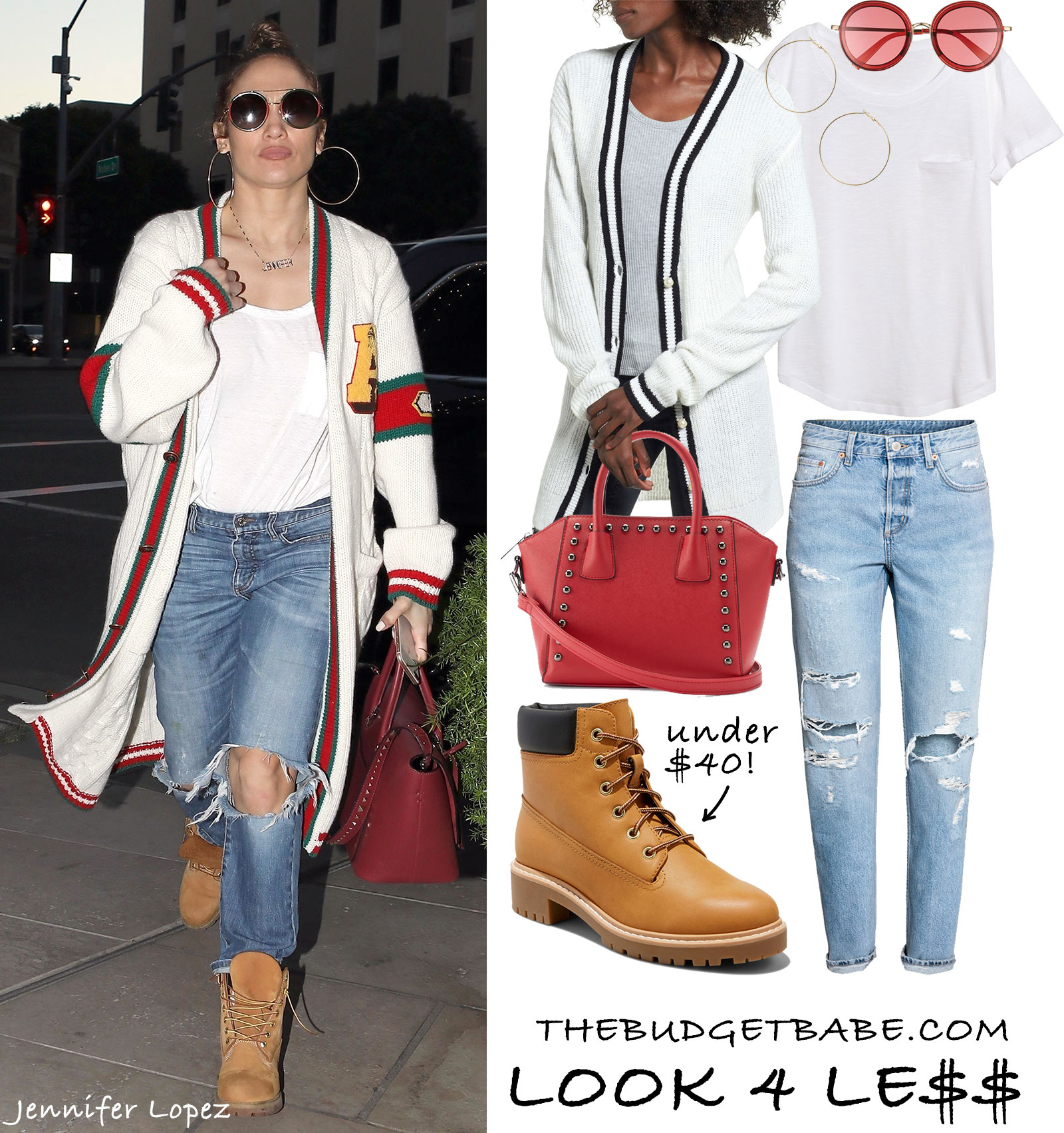 45a544658 Jennifer Lopez wears a Gucci cardigan sweater with ripped jeans, Timberland  boots and Valentino trapeze