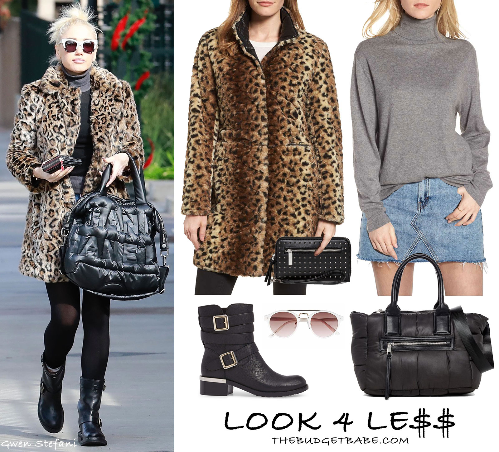 Gwen Stefani wears a leopard Vince Camuto coat with moto boots and a Chanel bag.