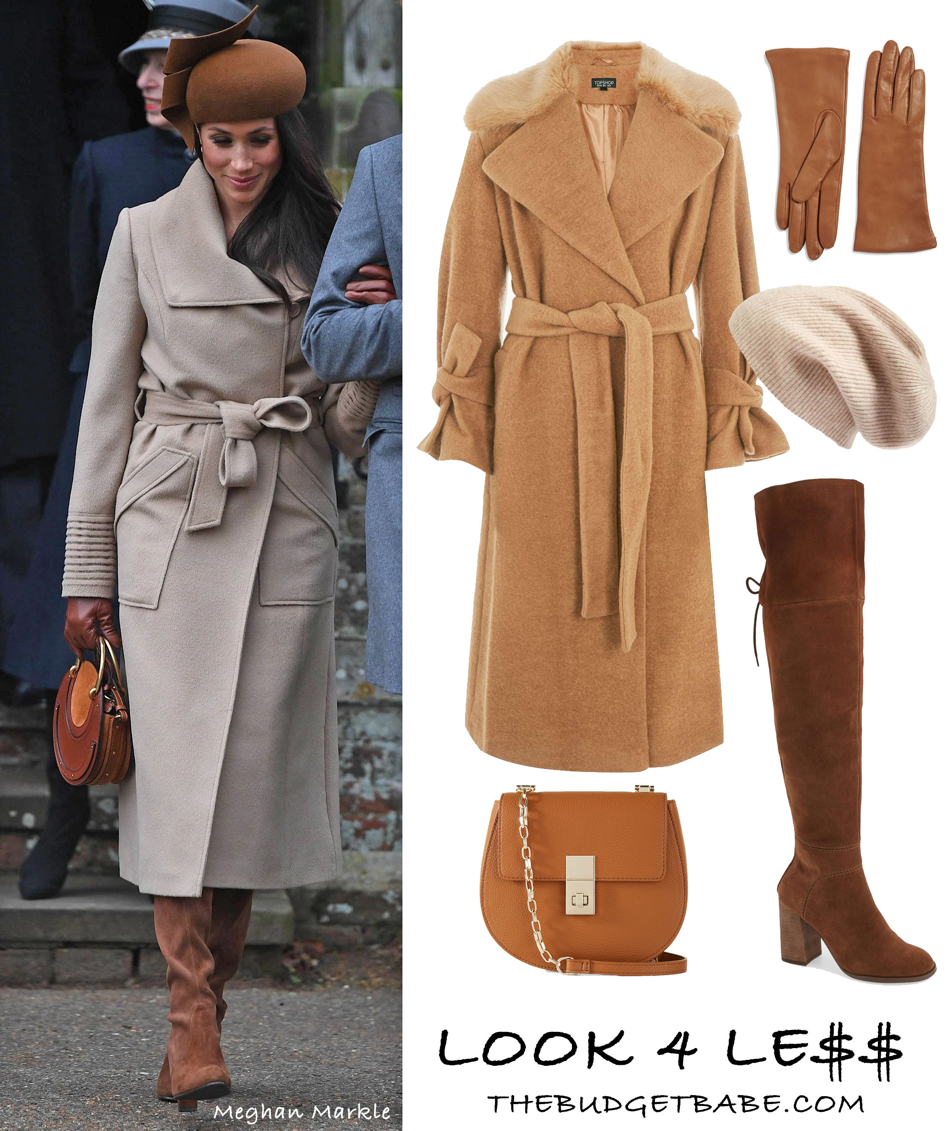 Meghan Markle wears a camel wrap coat by Sentaler with Stuart Weitzman boots and Chloe bag. Get the look for less!