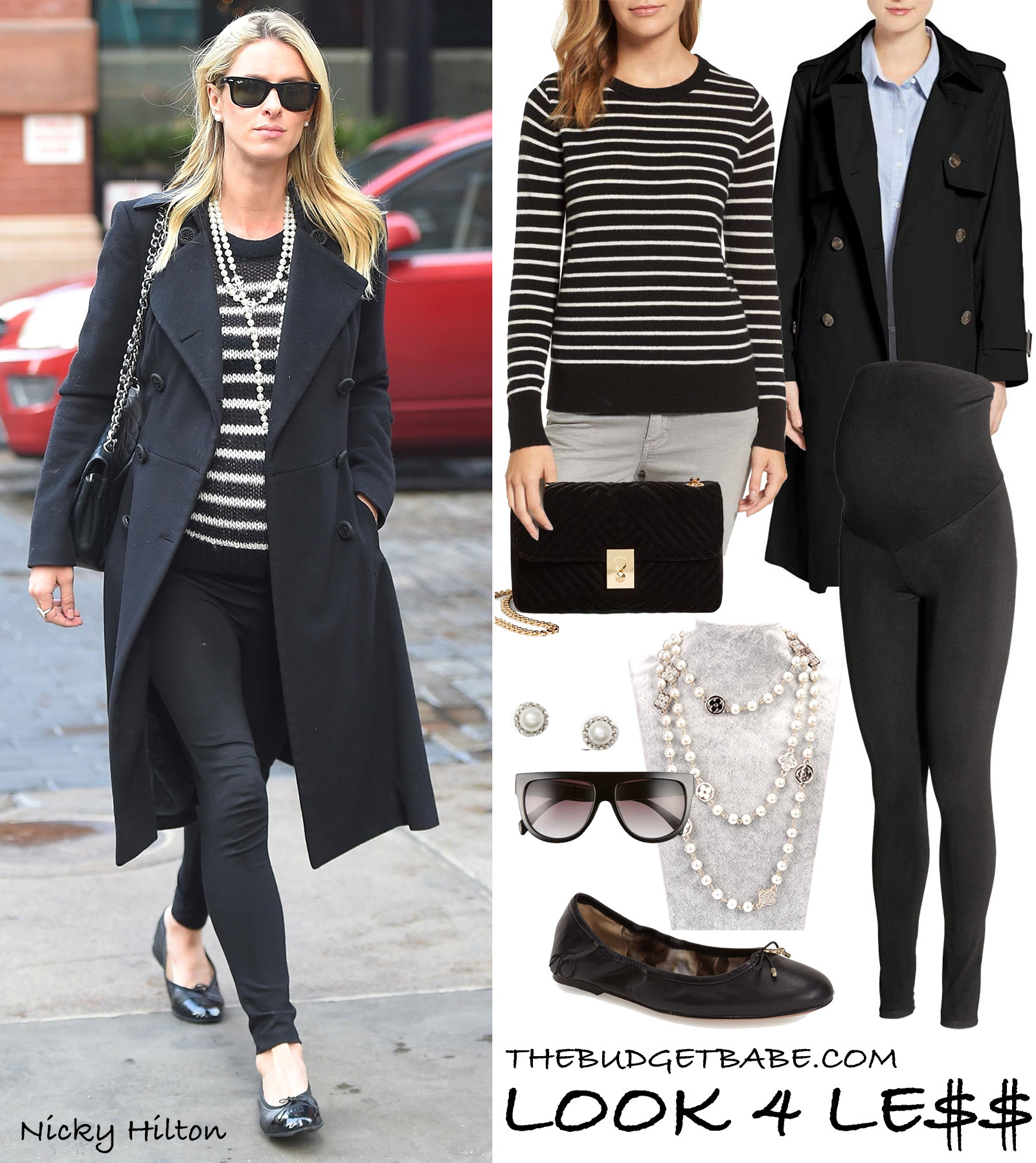 Nicky Hilton's striped sweater and Chanel pearl necklace