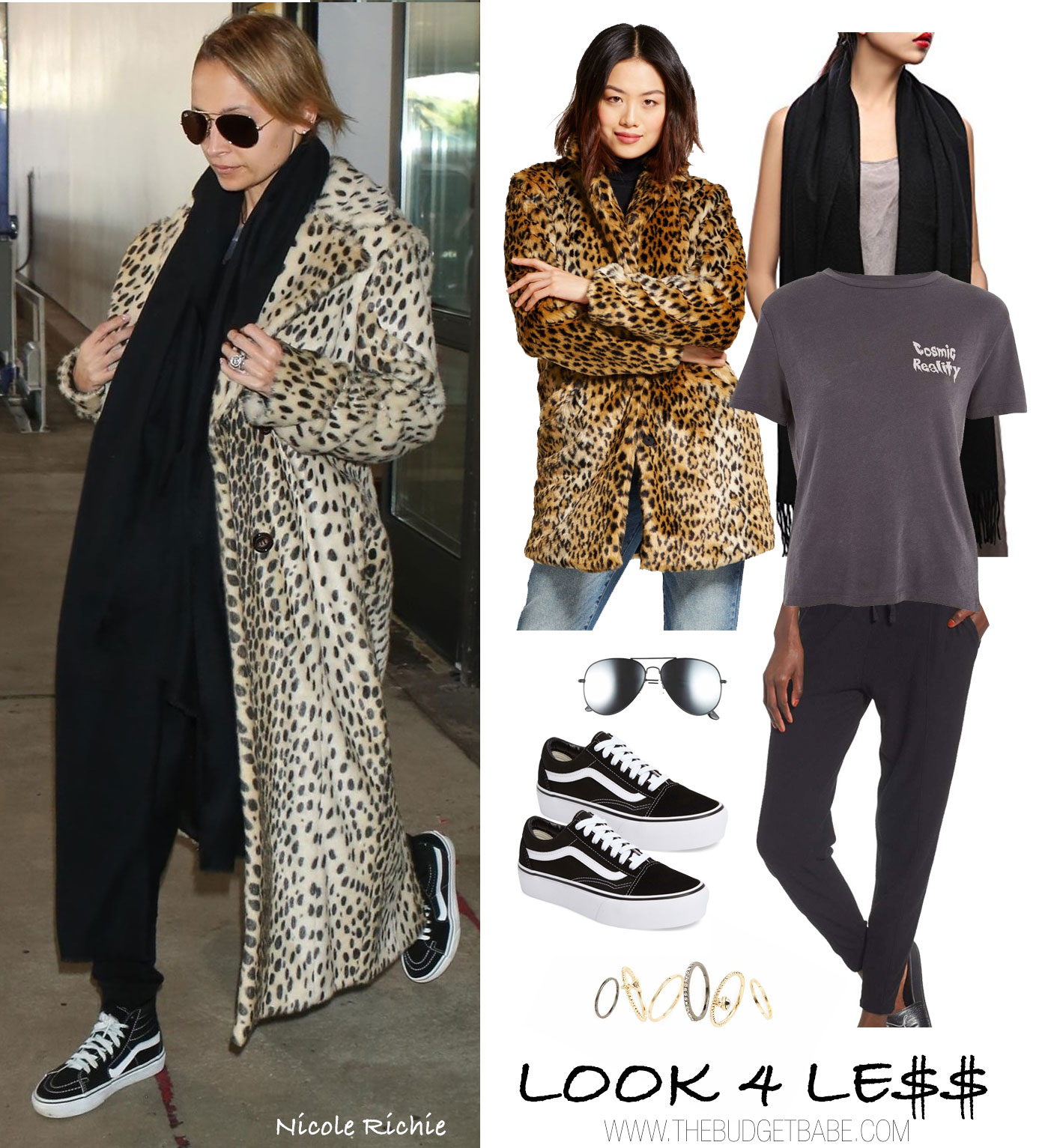 Nicole Richie wears a leopard coat with Vans sneakers for travel