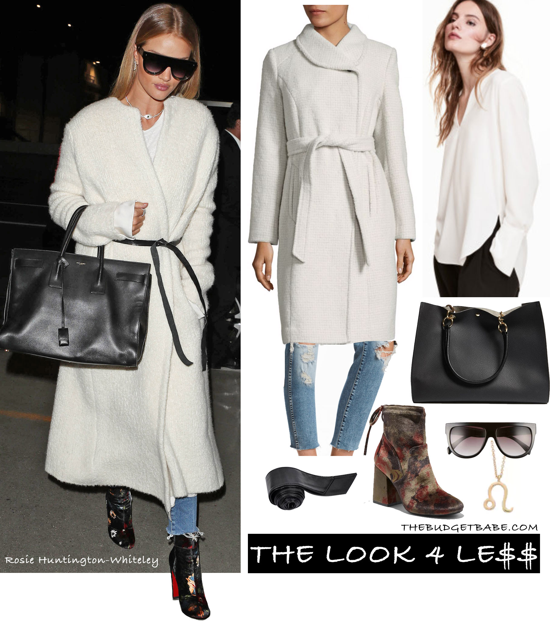 Rosie Huntington-Whiteley wears a white wrap coat by Isabel Marant with Paige jeans, Saint Laurent bag and Christian Louboutin shoes.