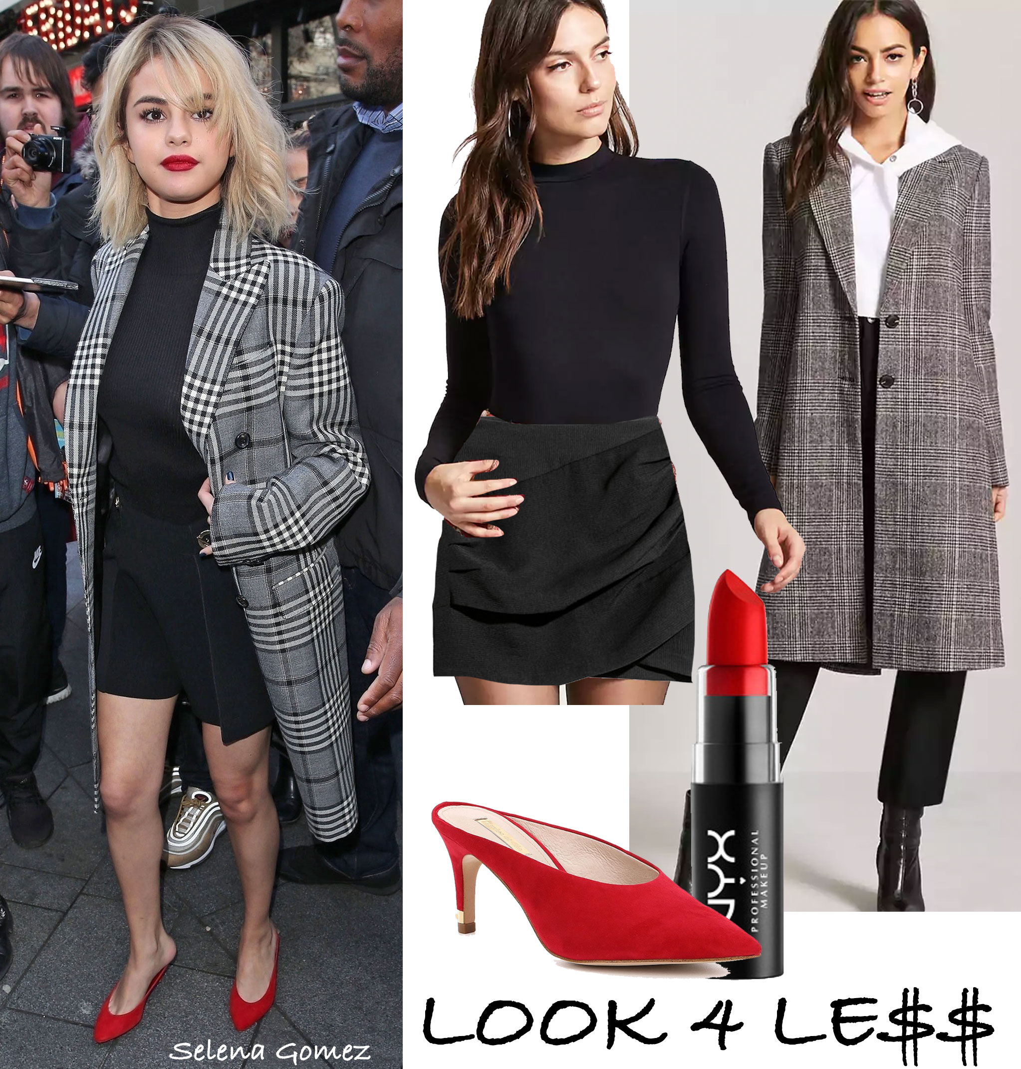 Selena Gomez wears a plaid coat, black mock neck top, black skirt and red mules.