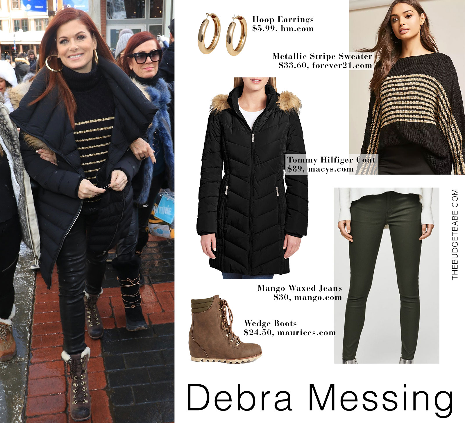 Debra Messing wears a Rudsak coat and Sorel boots while out and about at the Sundance Film Festival in Utah.