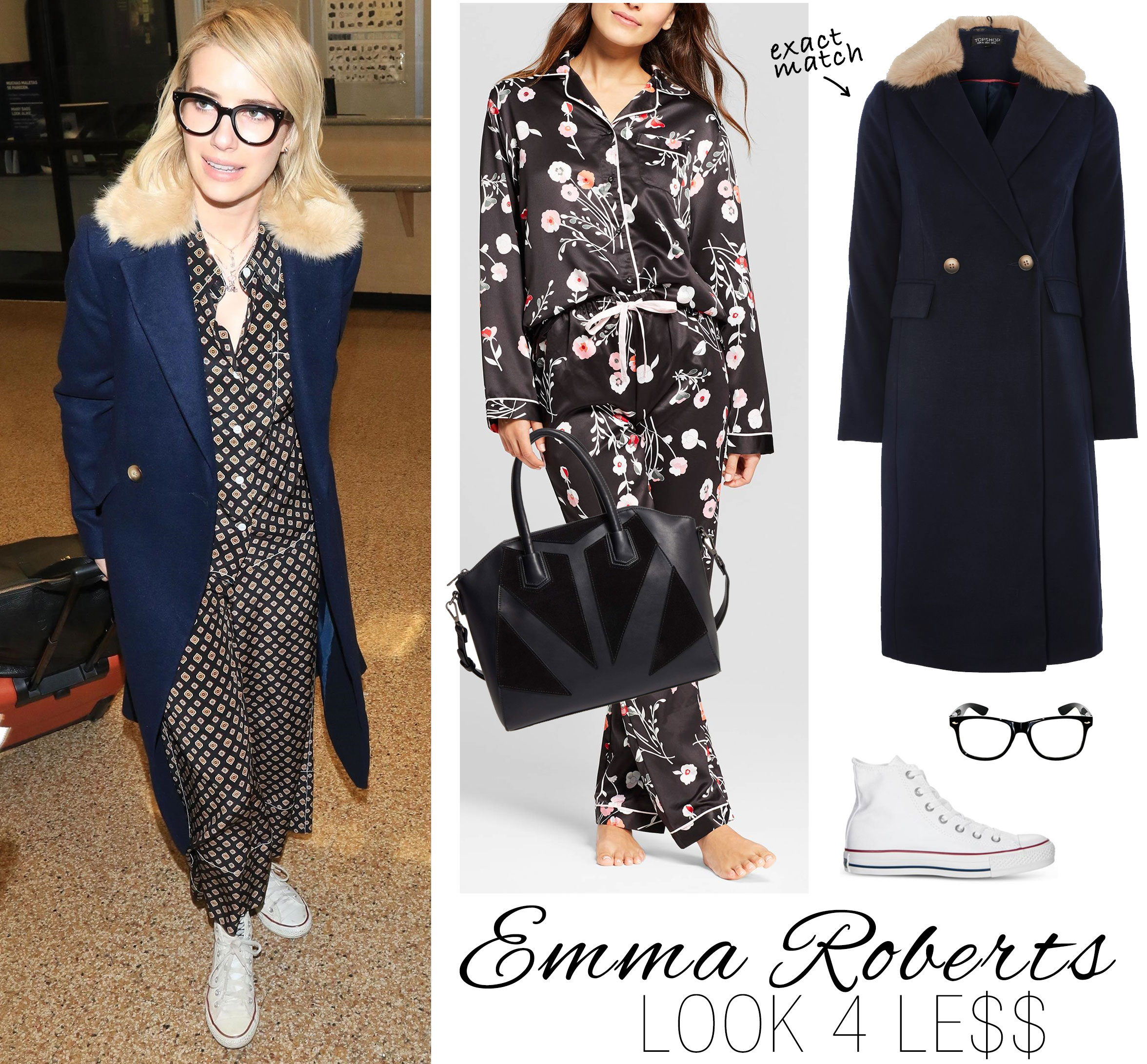 Emma Roberts wears Topshop pajamas and coat with Converse sneakers and Celine geek glasses.