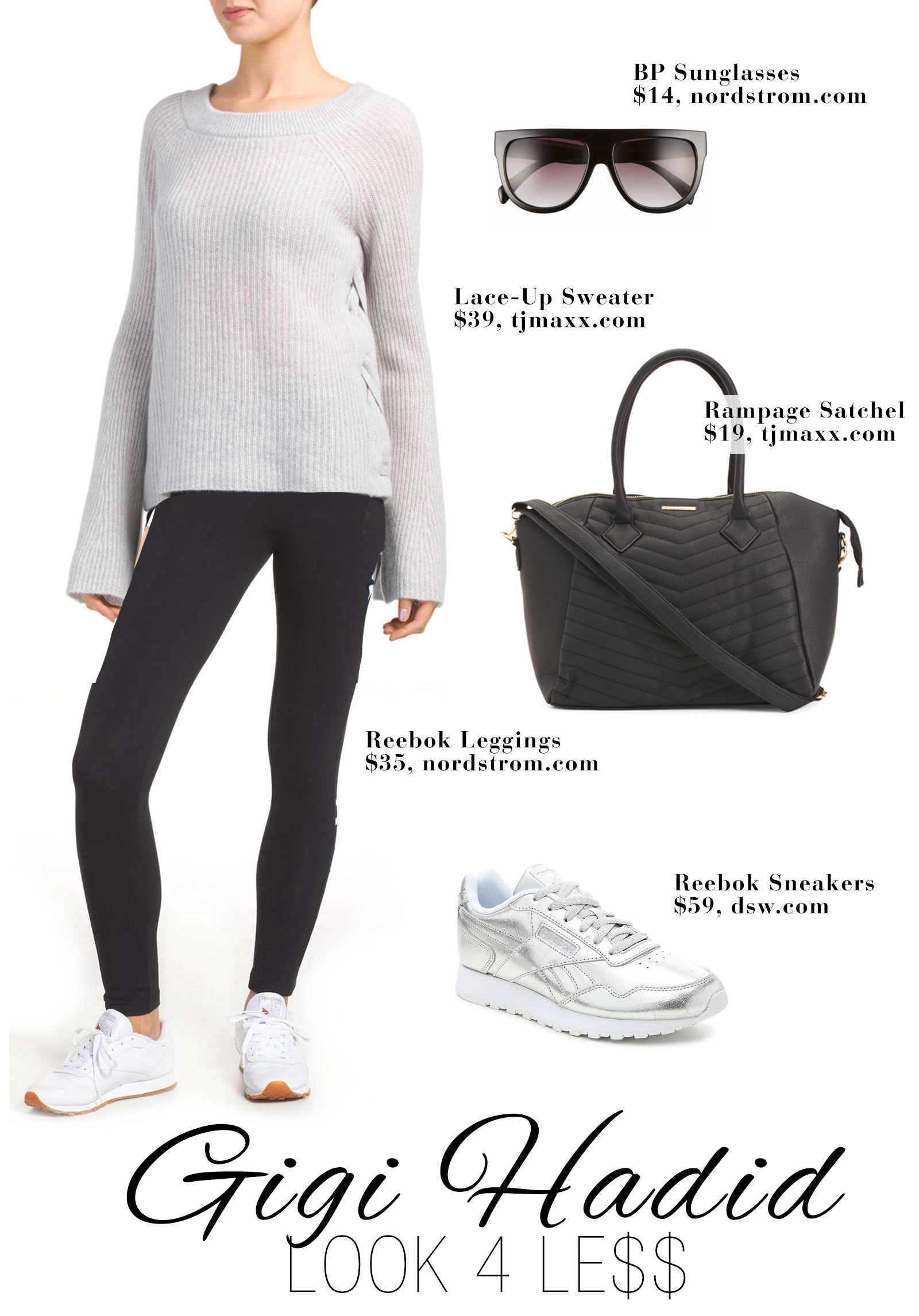 Gigi Hadid's turtleneck lace up sweater, Reebok leggings, silver sneakers and Saint Laurent bag look for less