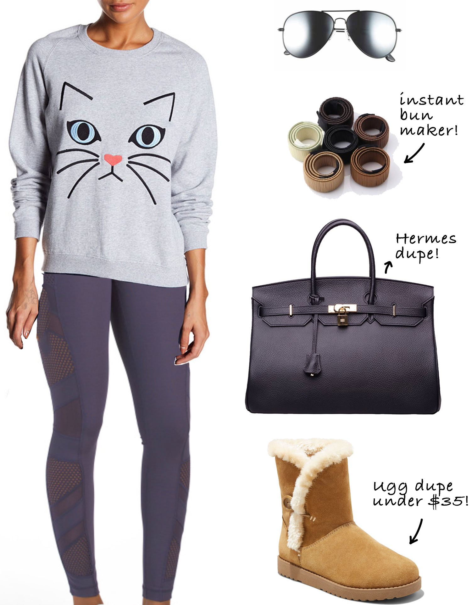 J. Lo's post-workout style: Cat sweatshirt, mesh panel leggings and Ugg boots